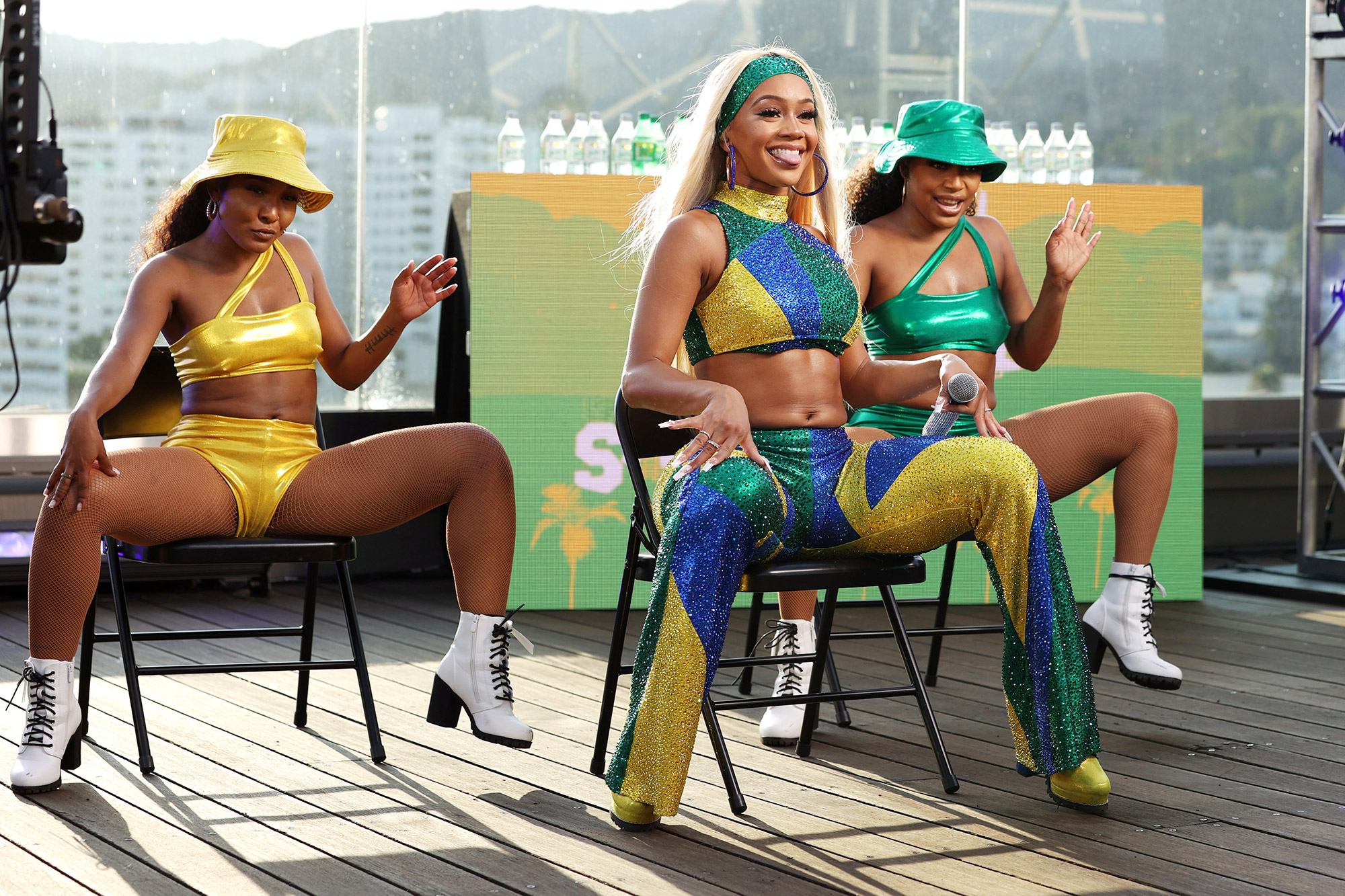 Saweetie (C) performs at Sprite's Live from the Label Virtual Concert Series headlined by multi-platinum-selling songwriter & rapper Saweetie at the Hollywood Roosevelt on August 12, 2021 in Los Angeles, California