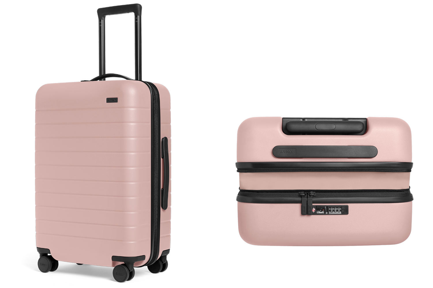 pink expandable suitcase