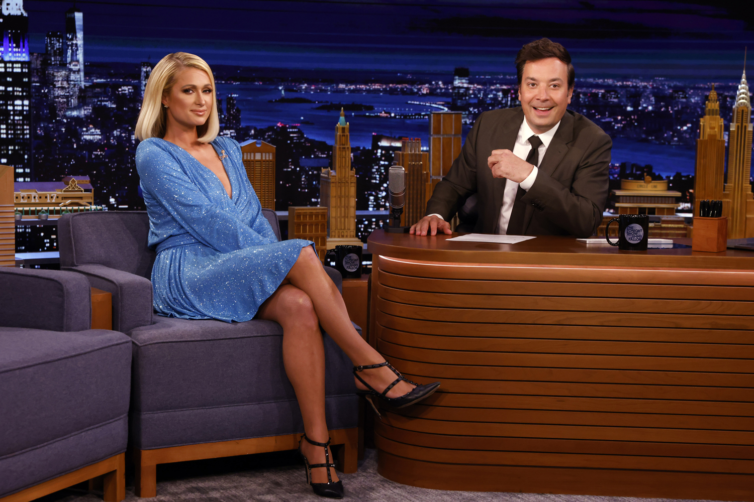 Paris Hilton during an interview with host Jimmy Fallon