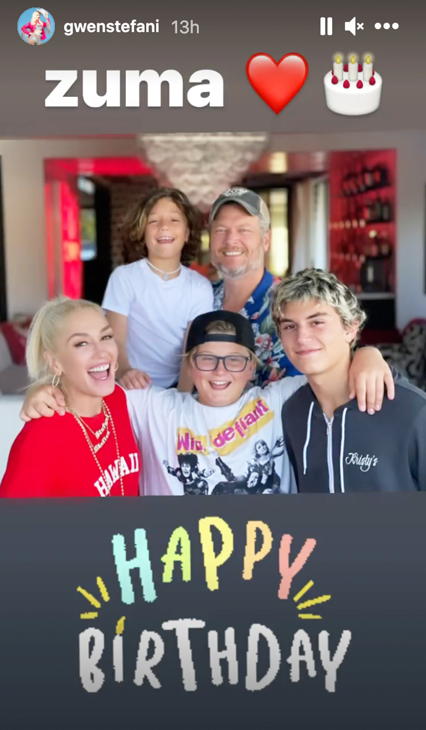 Gwen Stefani shares family pic with blake in honor of son zuma's 13th bday