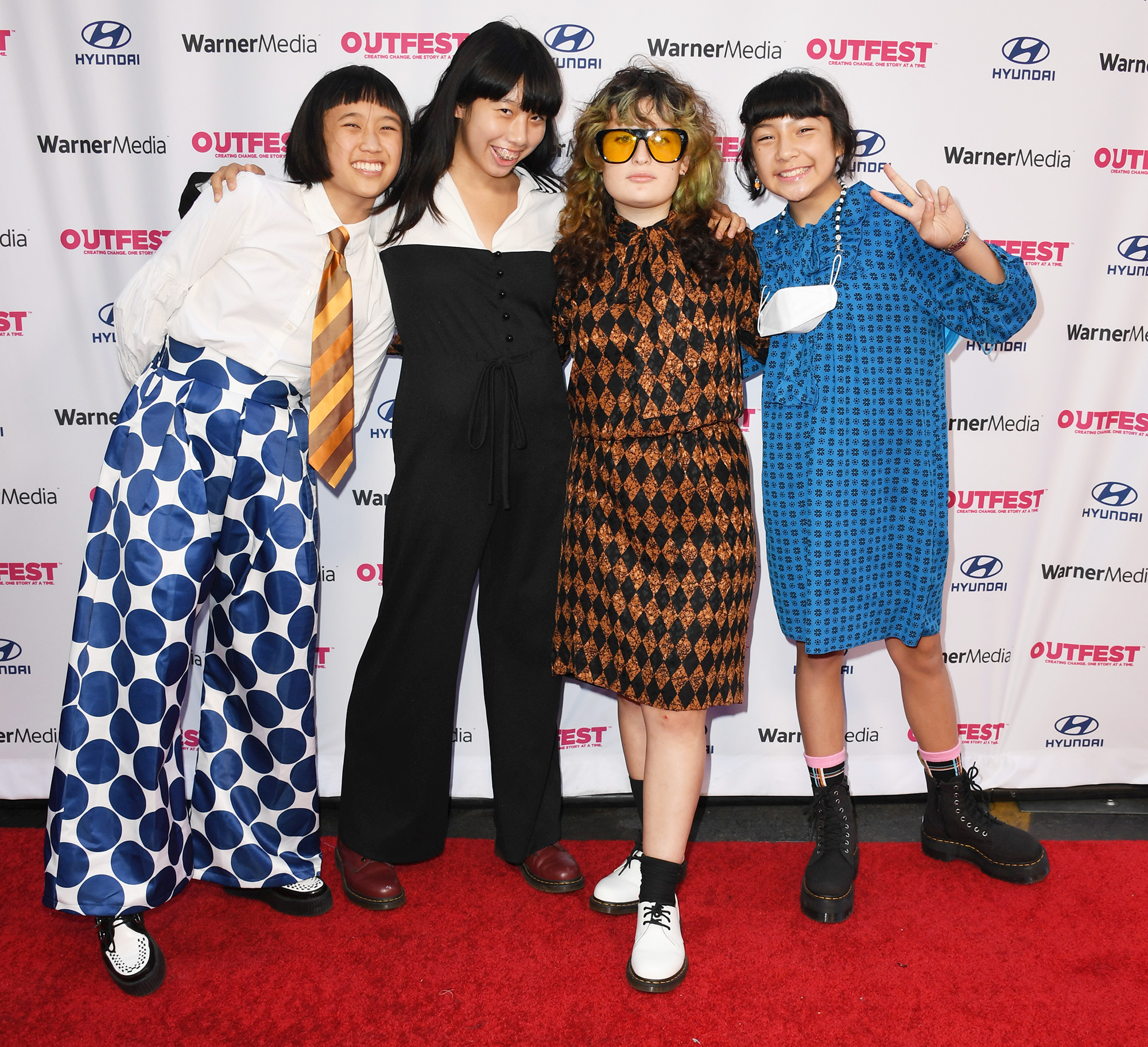 Bela Salazar, Eloise Wong, Lucia de la Garza and Mila de la Garza of The Linda Linda attend Closing Night Of 2021 Outfest Los Angeles LGBTQ Film Festival at The Orpheum Theatre on August 22, 2021 in Los Angeles, California.