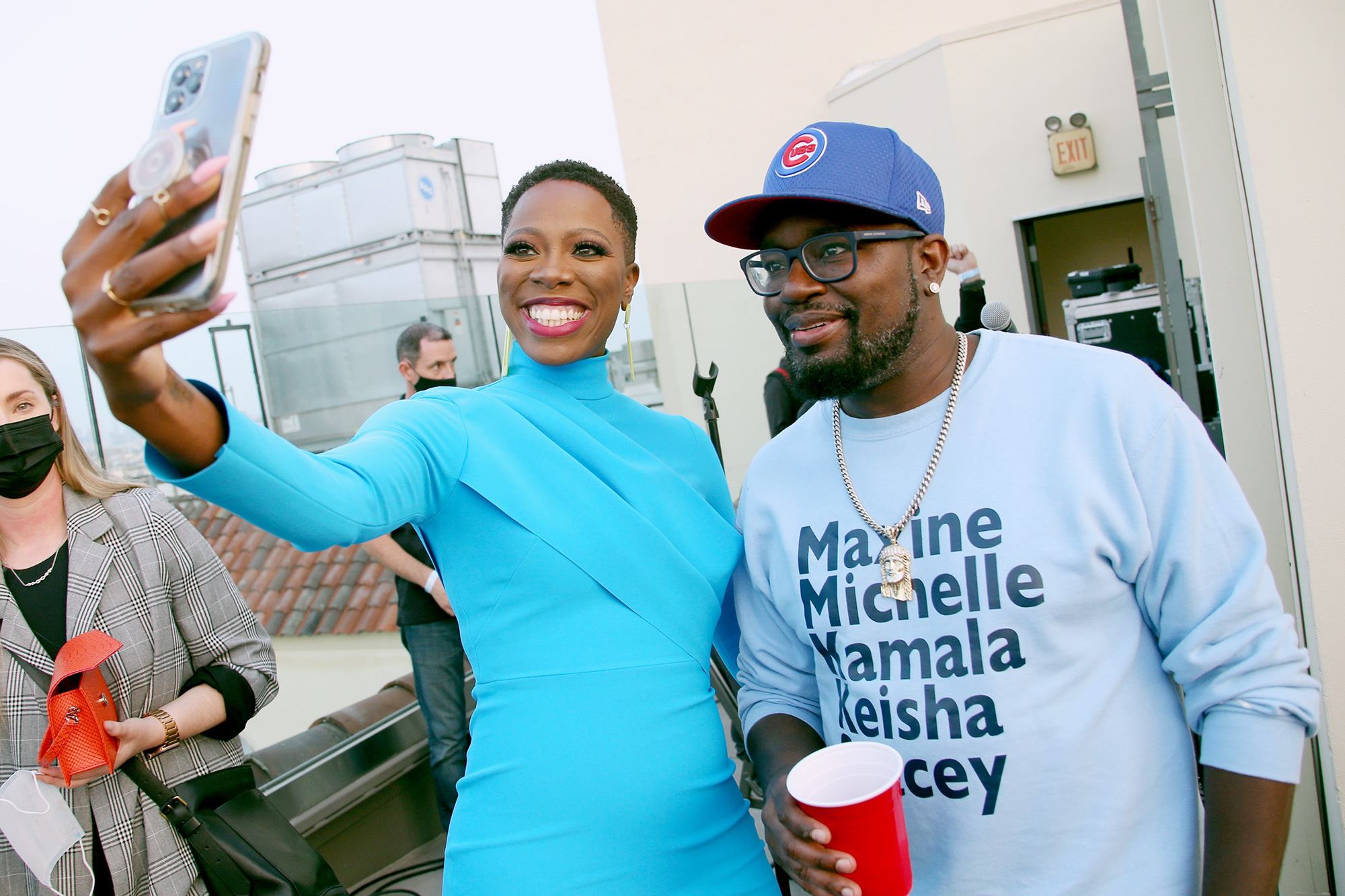 Yvonne Orji and Lil Rel Howery attend the Vacation Friends Special VIP Pool Party Screening at The Hollywood Roosevelt on August 23, 2021 in Los Angeles, California