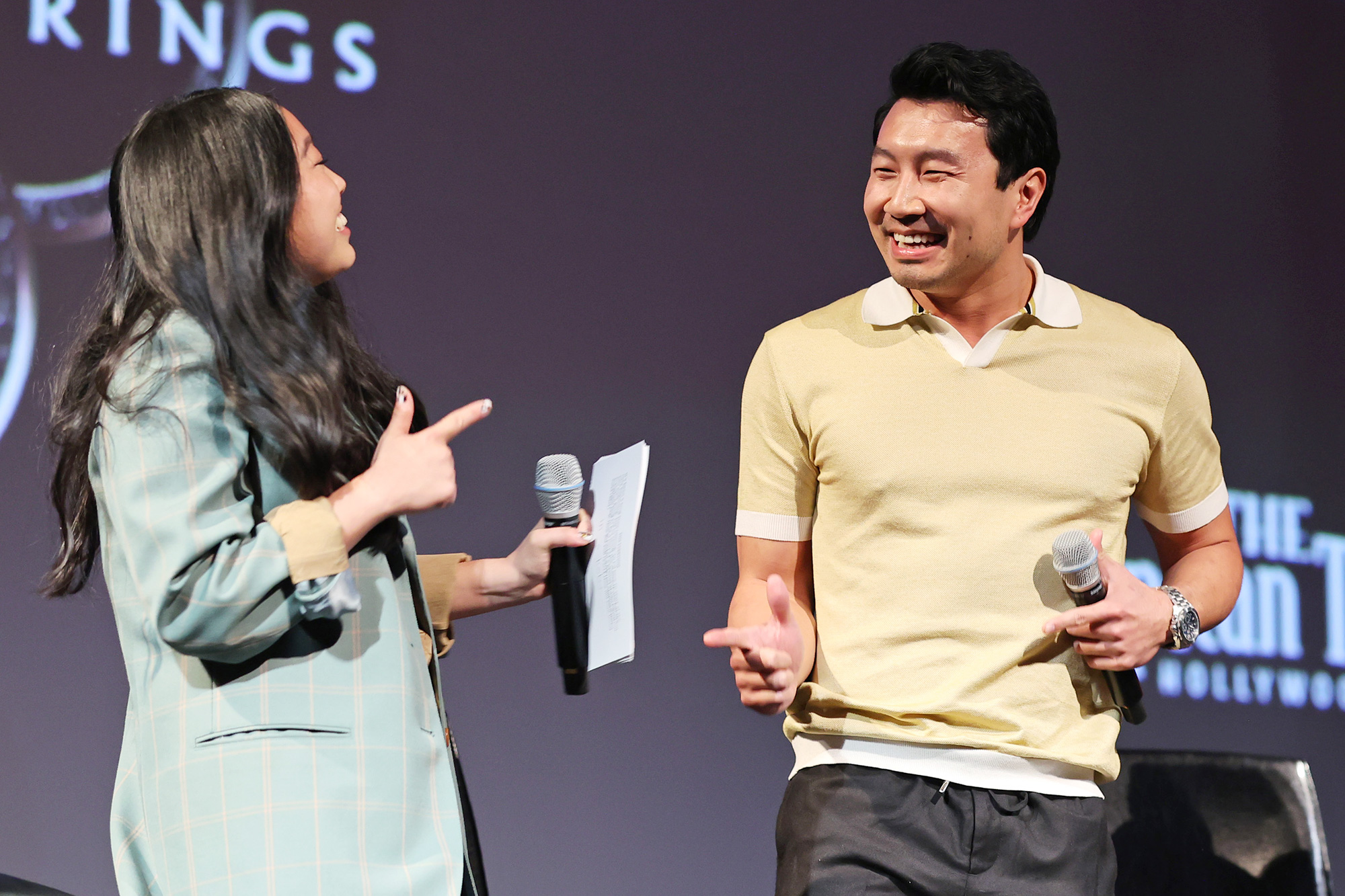 Awkwafina, Simu Liu, and Meng'er Zhang speak onstage at the Los Angeles VIP Gold Open Premiere + Q&A of Marvel Studios' SHANG-CHI AND THE LEGEND OF THE TEN RINGS at El Capitan Theatre on August 23, 2021 in Los Angeles, California