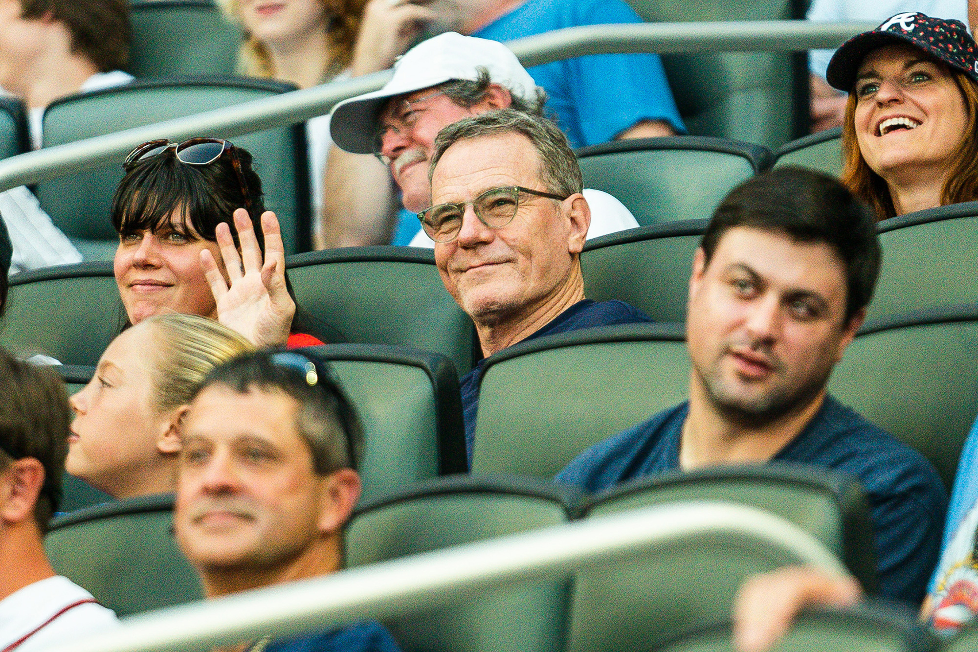 Bryan Cranston cheers on the Atlanta Braves during Game 1 against the New York Yankees at Truist Park on Monday, August 23, 2021.