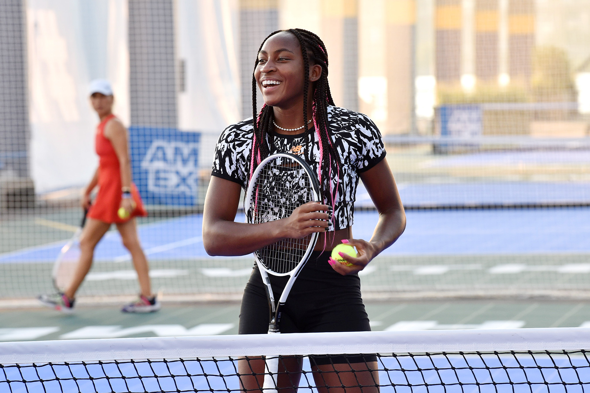 American tennis player Coco Gauff attends as the American Express Courts are unveiled ahead of 2021 US Open Tennis Tournament at Hudson River Park's Pier 76 on August 24, 2021 in New York City.