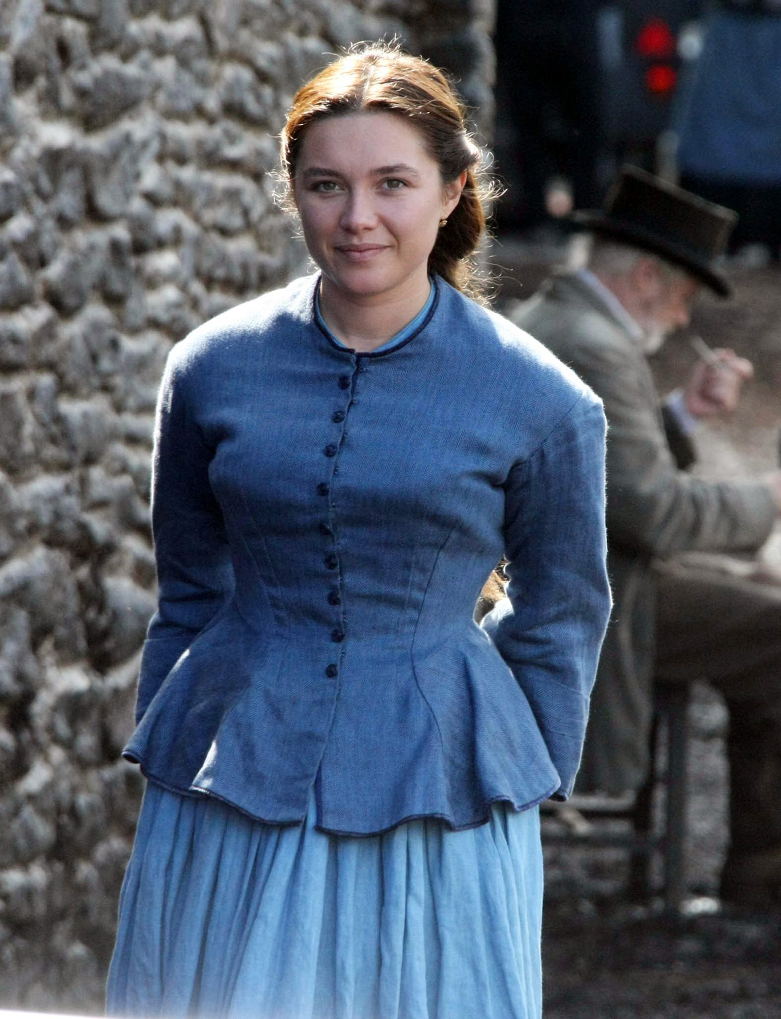 British actress Florence Pugh beams with delight whilst filming 'The Wonder' in Wicklow, Ireland.