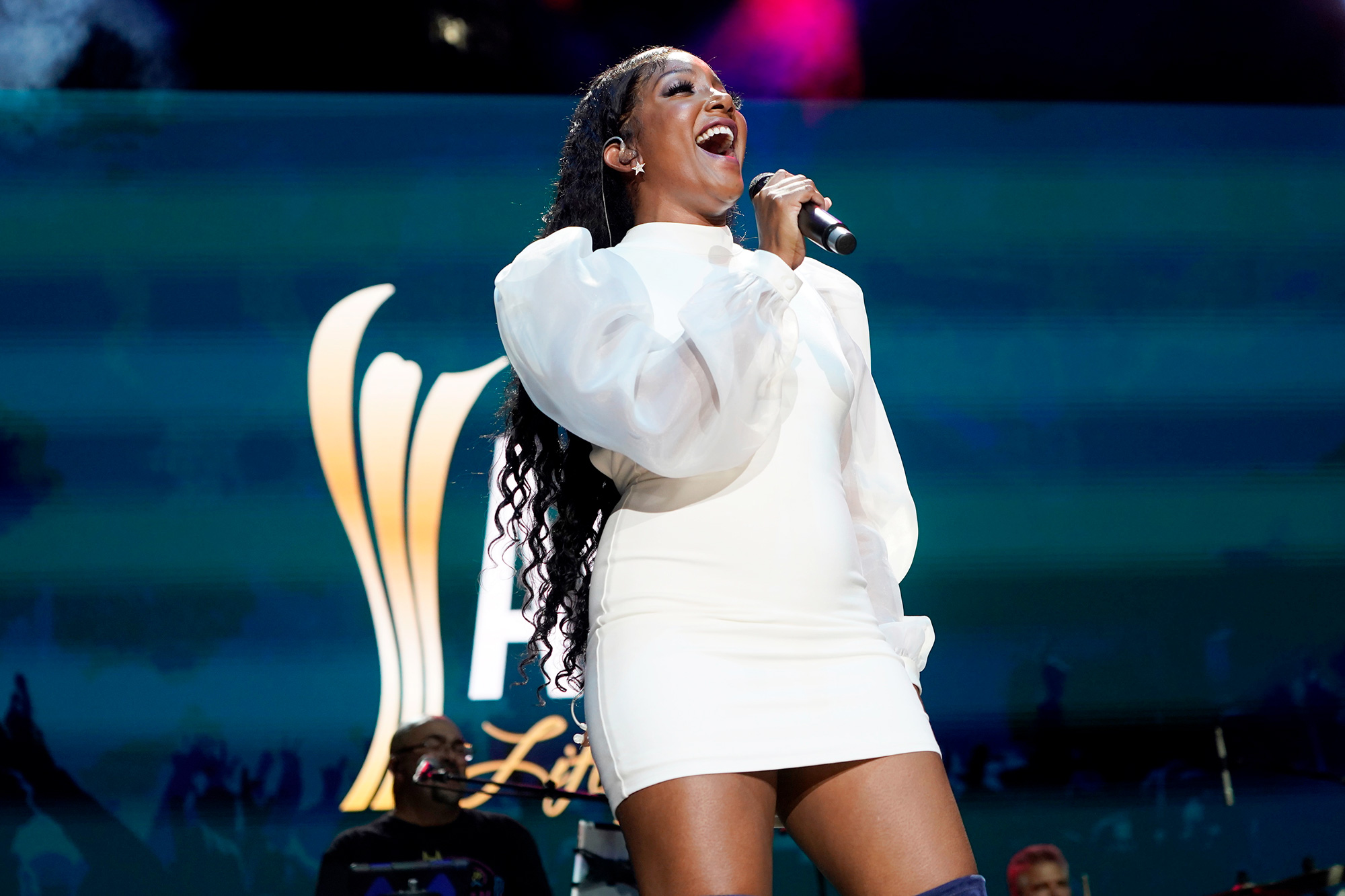 Mickey Guyton performs onstage at the 2021 ACM Party For A Cause at Ascend Amphitheater on August 24, 2021 in Nashville, Tennessee