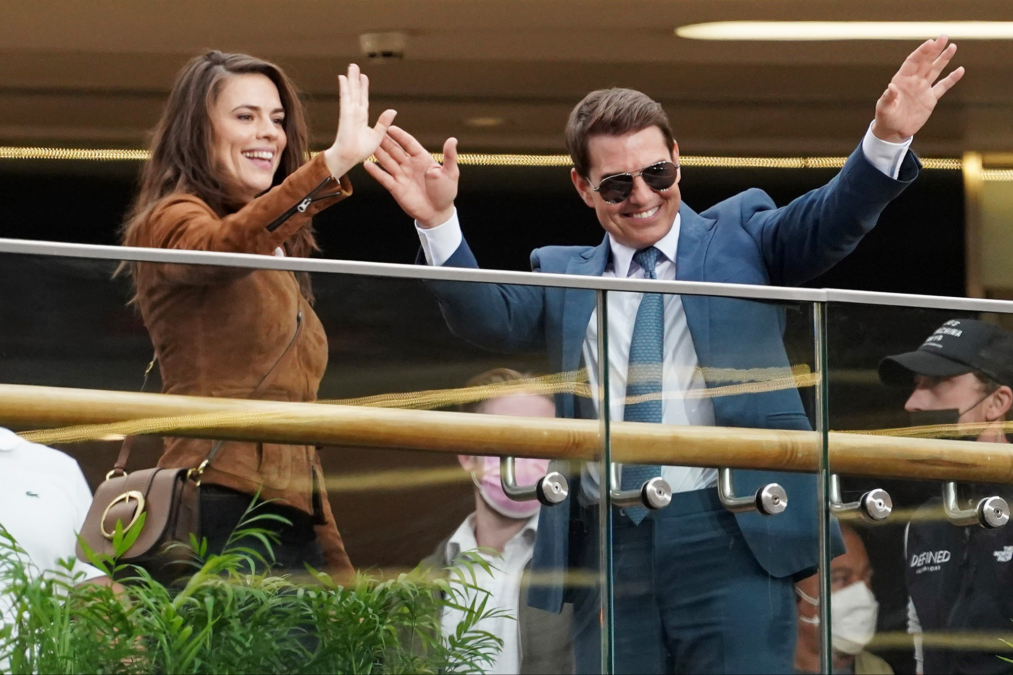 Tom Cruise and Hayley Atwell film scenes for Mission Impossible 7 in the Grand Central shopping centre in Birmingham today (24/8/21.)