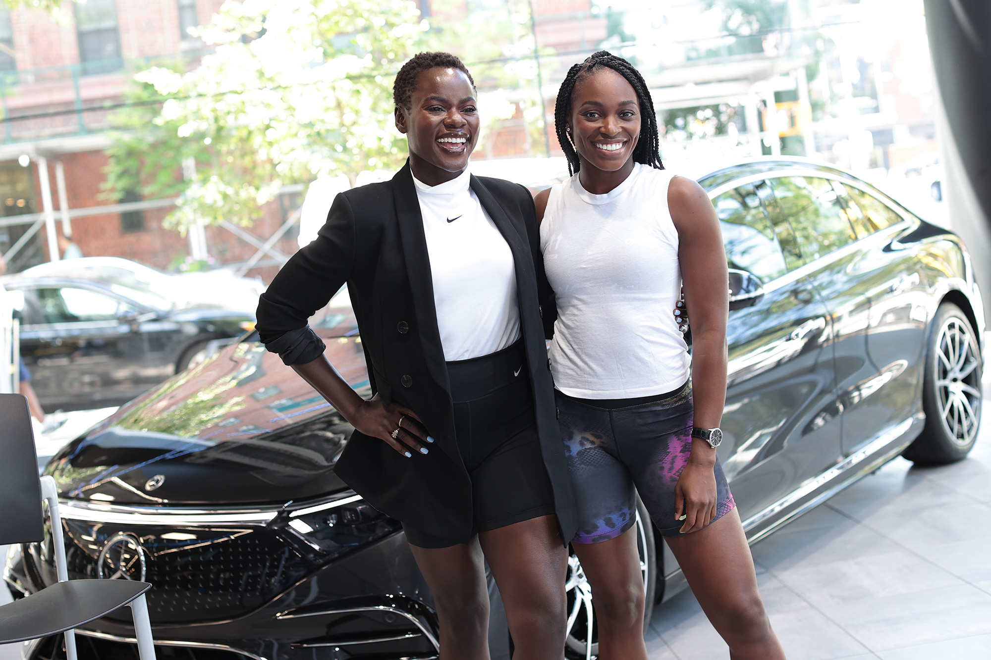 Tunde Oyeneyin and Mercedes-Benz ambassador Sloane Stephens appear at Mercedes-Benz Manhattan to celebrate the new All-Electric EQS Sedan ahead of US Open on August 25, 2021 in New York City