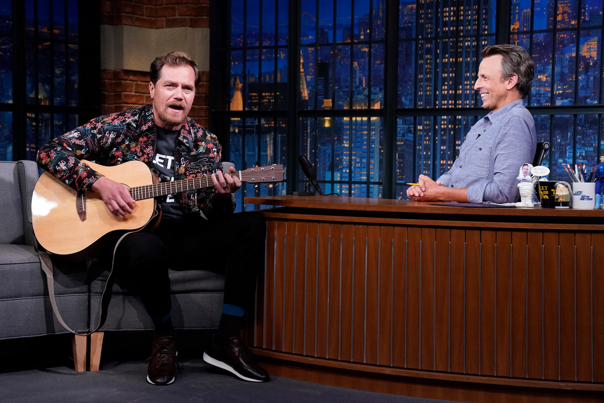 LATE NIGHT WITH SETH MEYERS -- Episode 1186 -- Pictured: (l-r) Actor Michael Shannon during an interview with host Seth Meyers on August 26, 2021