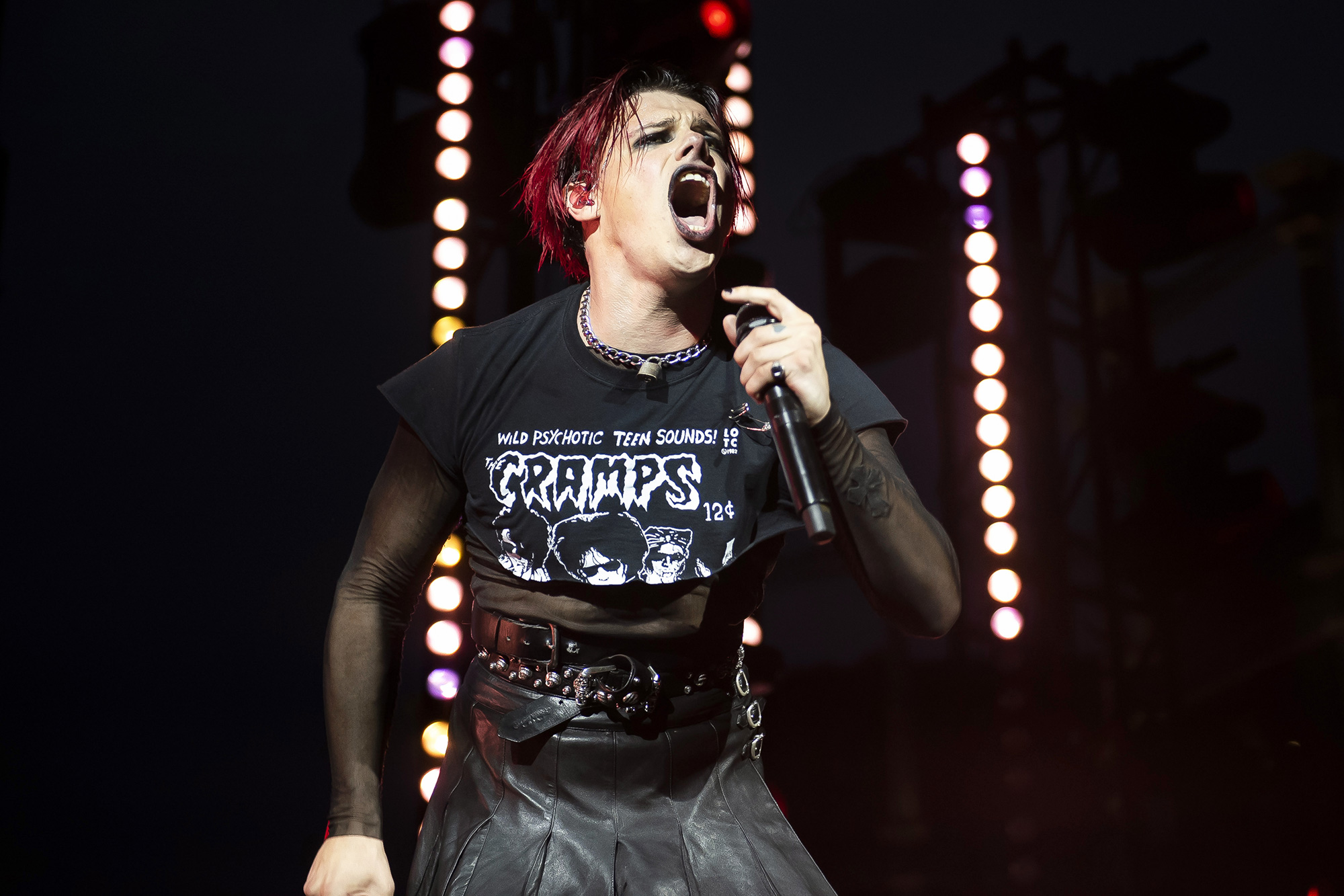 Yungblud performs his song Mars to a live audience alongside London Community Gospel Choir and artist Aries Moross in Kings Cross, London, to launch the Samsung Galaxy Z Fold3 and Z Flip3 devices, which go on sale on Friday. The concept for the concert, featuring a rotating stage, and visuals created by Moross, was inspired by the Multi Window capabilities on the new Samsung