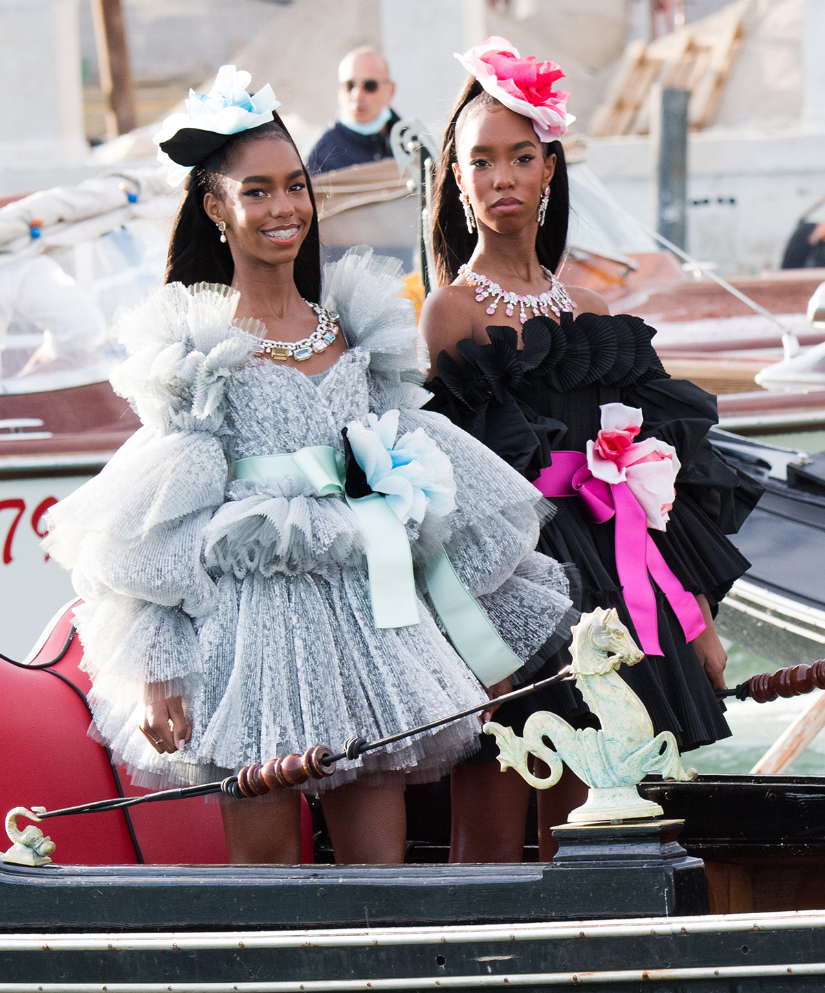 D'Lila Star Combs and Jessie James Combs are seen during the Dolce&Gabbana Alta Moda show on August 29, 2021 in Venice, Italy.