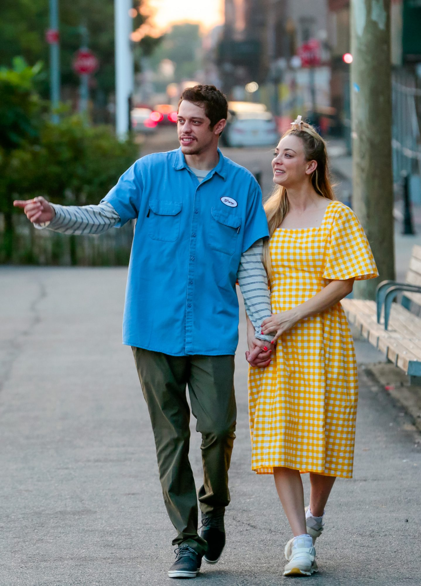 Kaley Cuoco and Pete Davidson are seen on the movie set of the 'Meet Cute' in New York City