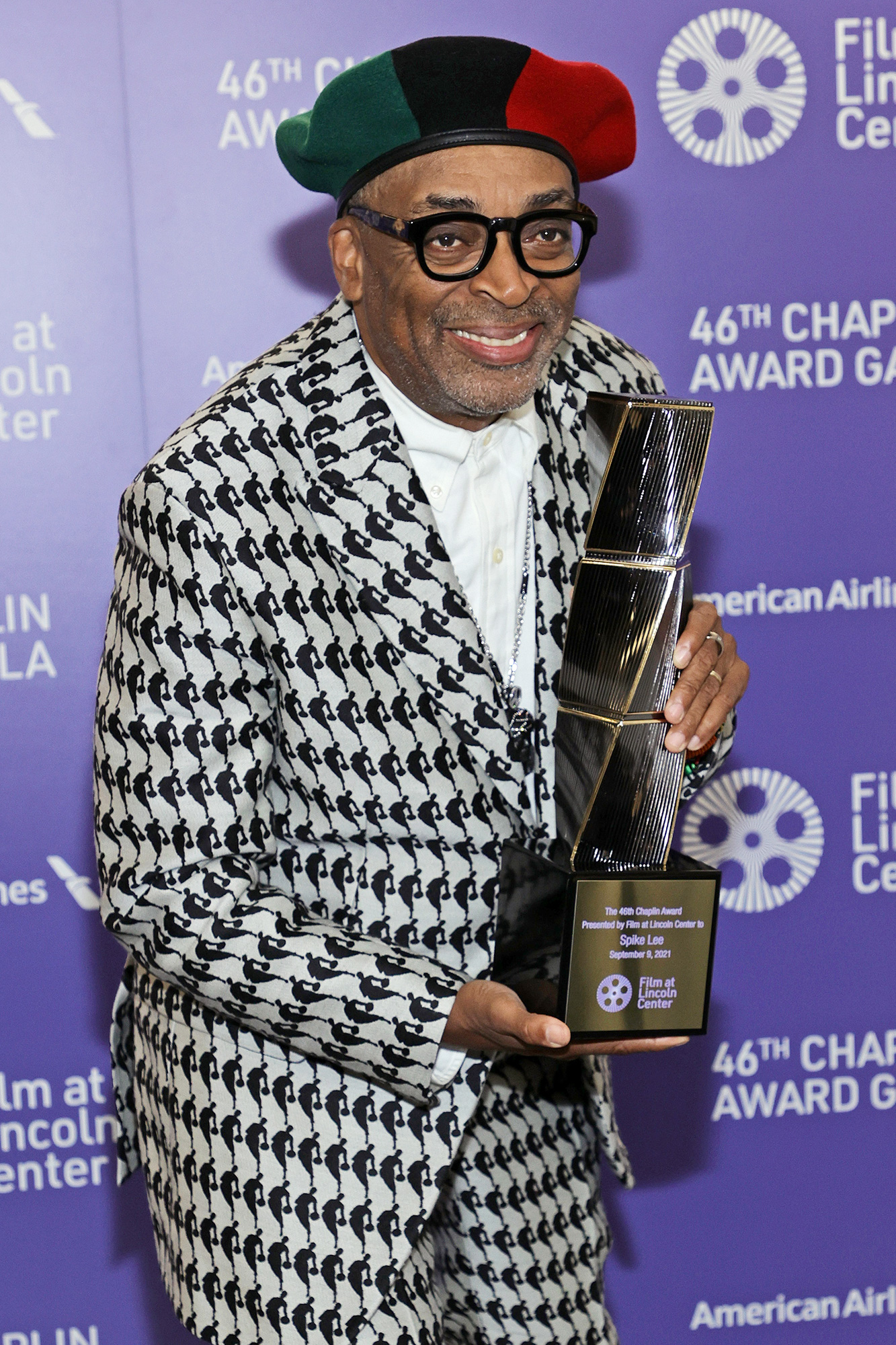 Spike Lee poses backstage during the 46th Chaplin Award Gala Honoring Spike Lee on September 09, 2021 in New York City.