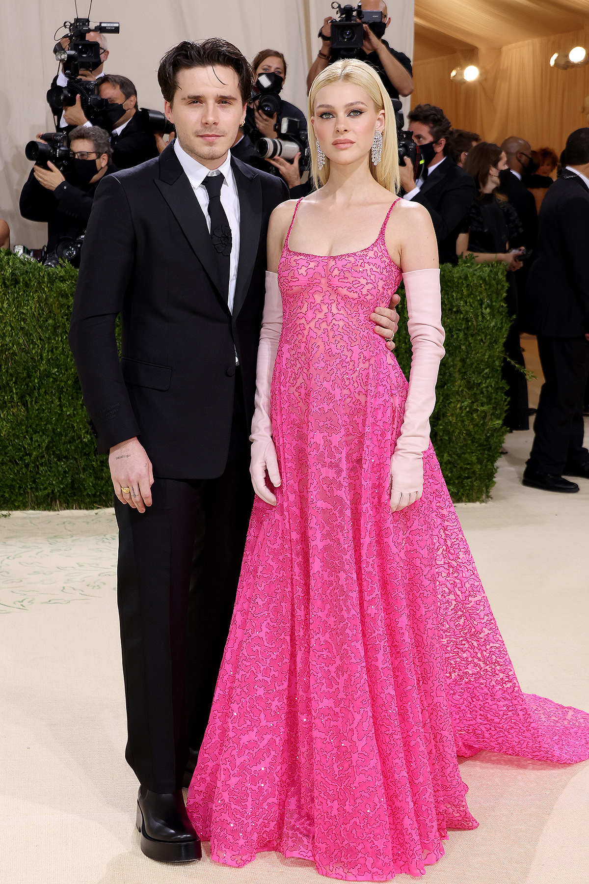 Brooklyn Beckham and Nicola Peltz attend The 2021 Met Gala Celebrating In America: A Lexicon Of Fashion at Metropolitan Museum of Art on September 13, 2021