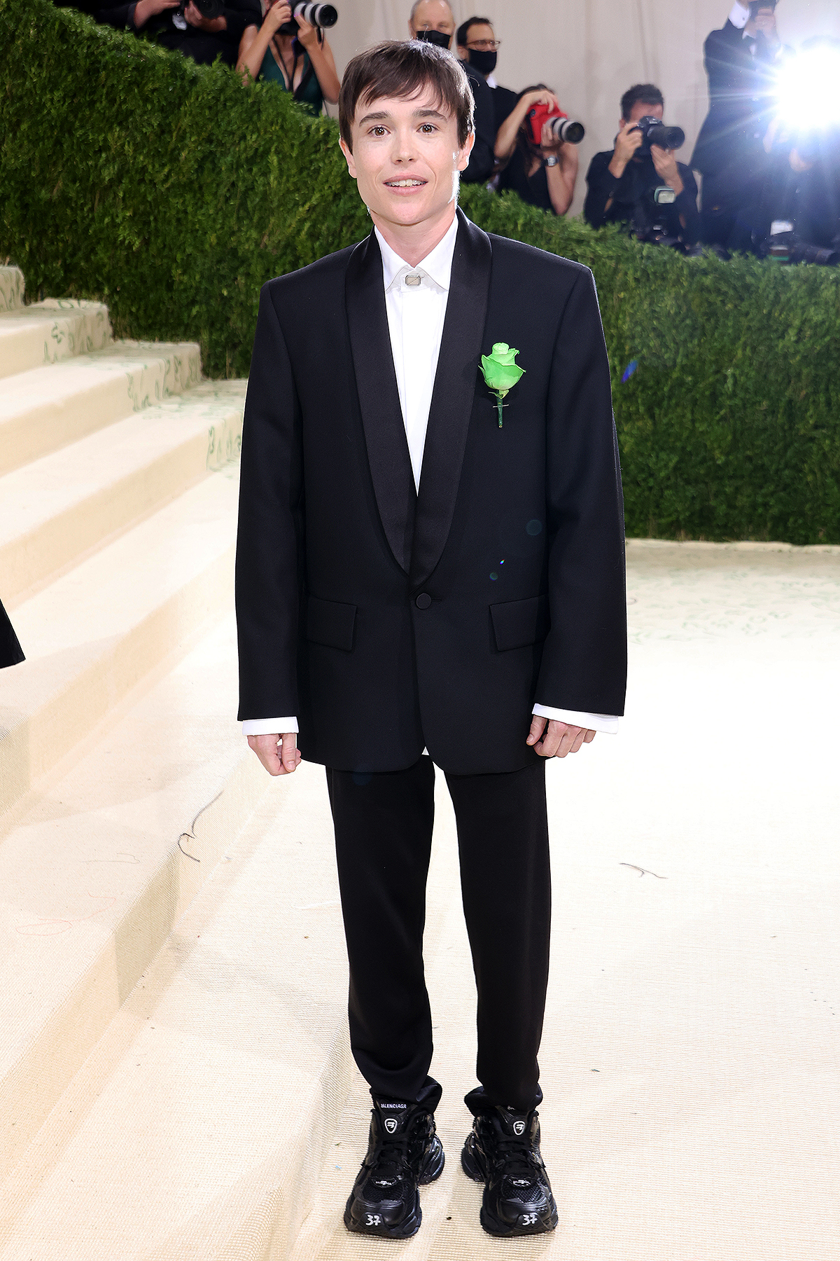 Elliot Page attends The 2021 Met Gala Celebrating In America: A Lexicon Of Fashion at Metropolitan Museum of Art on September 13, 2021 in New York City.