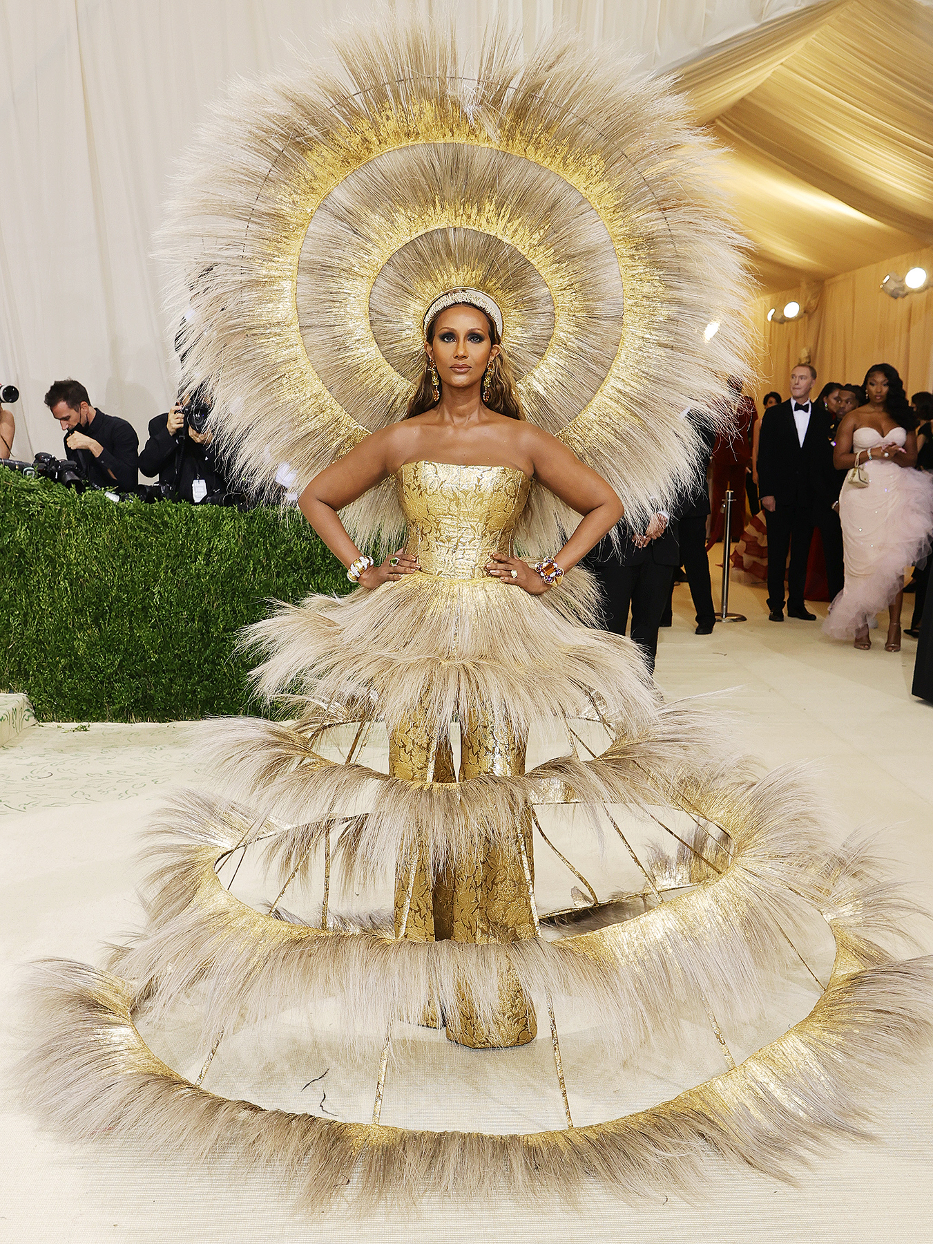 Iman attends The 2021 Met Gala Celebrating In America: A Lexicon Of Fashion at Metropolitan Museum of Art on September 13, 2021