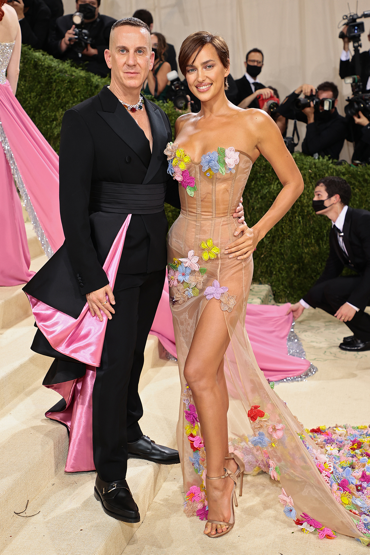 Jeremy Scott and Irina Shayk attend The 2021 Met Gala Celebrating In America: A Lexicon Of Fashion at Metropolitan Museum of Art on September 13, 2021 in New York City.