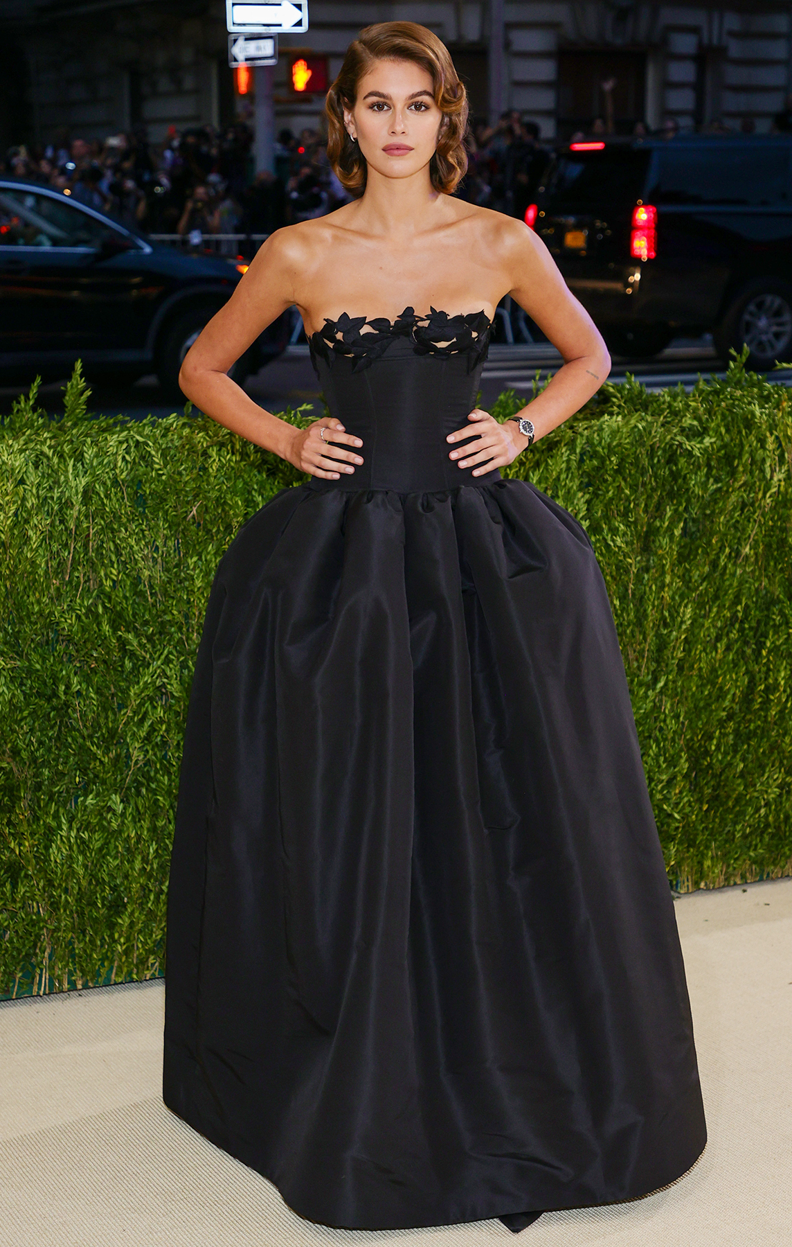 Kaia Gerber attends The 2021 Met Gala Celebrating In America: A Lexicon Of Fashion at Metropolitan Museum of Art on September 13, 2021 in New York City.
