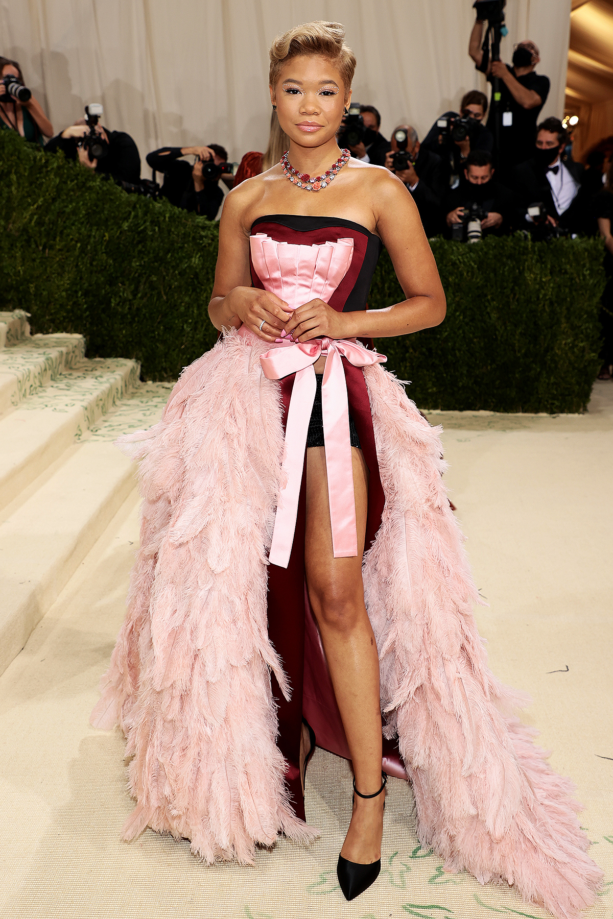 Storm Reid attends The 2021 Met Gala Celebrating In America: A Lexicon Of Fashion at Metropolitan Museum of Art on September 13, 2021