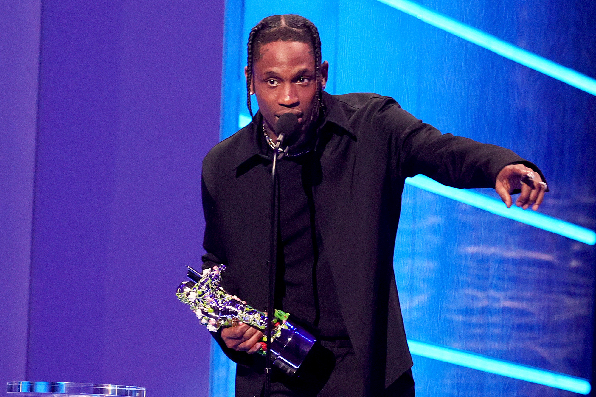 """Travis Scott accepts the Best Hip Hop award for """"Franchise"""" onstage during the 2021 MTV Video Music Awards at Barclays Center on September 12, 2021 in the Brooklyn borough of New York City"""