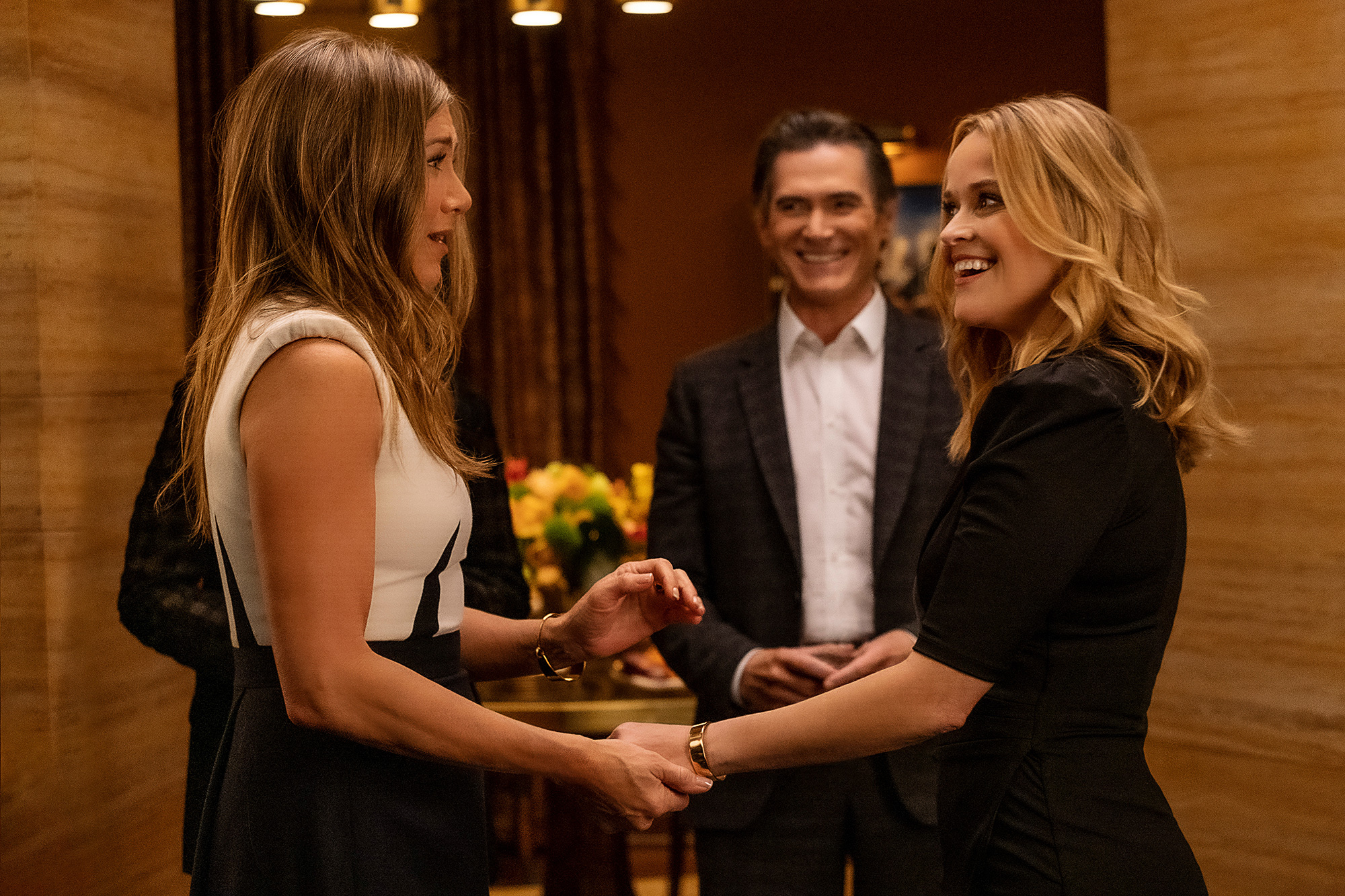 """Jennifer Aniston, Billy Crudup and Reese Witherspoon in """"The Morning Show,"""" premiering September 17, 2021 on Apple TV+."""