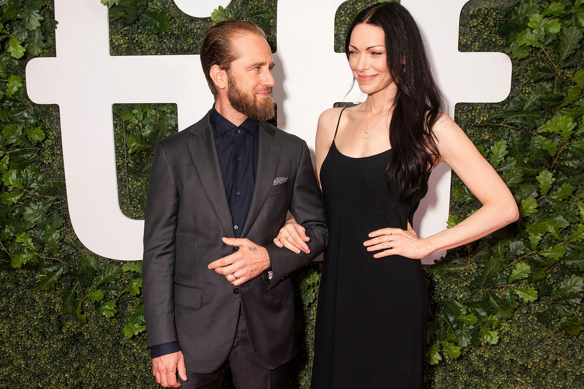 """Actor Ben Foster, left, and wife/actress Laura Prepon seen at the world premiere of """"The Survivor"""" at the Toronto International Film Festival, in Toronto 2021 TIFF - """"The Survivor"""" World Premiere & After Party, Toronto, Canada - 13 Sep 2021"""