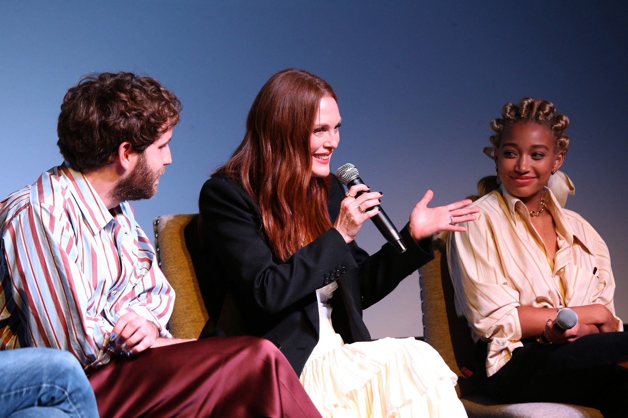 Ben Platt, Julianne Moore, and Amandla Stenberg speak onstage during a special screening of Dear Evan Hansen presented by Universal Pictures at The Whitby Screening Room on September 14, 2021 in New York City