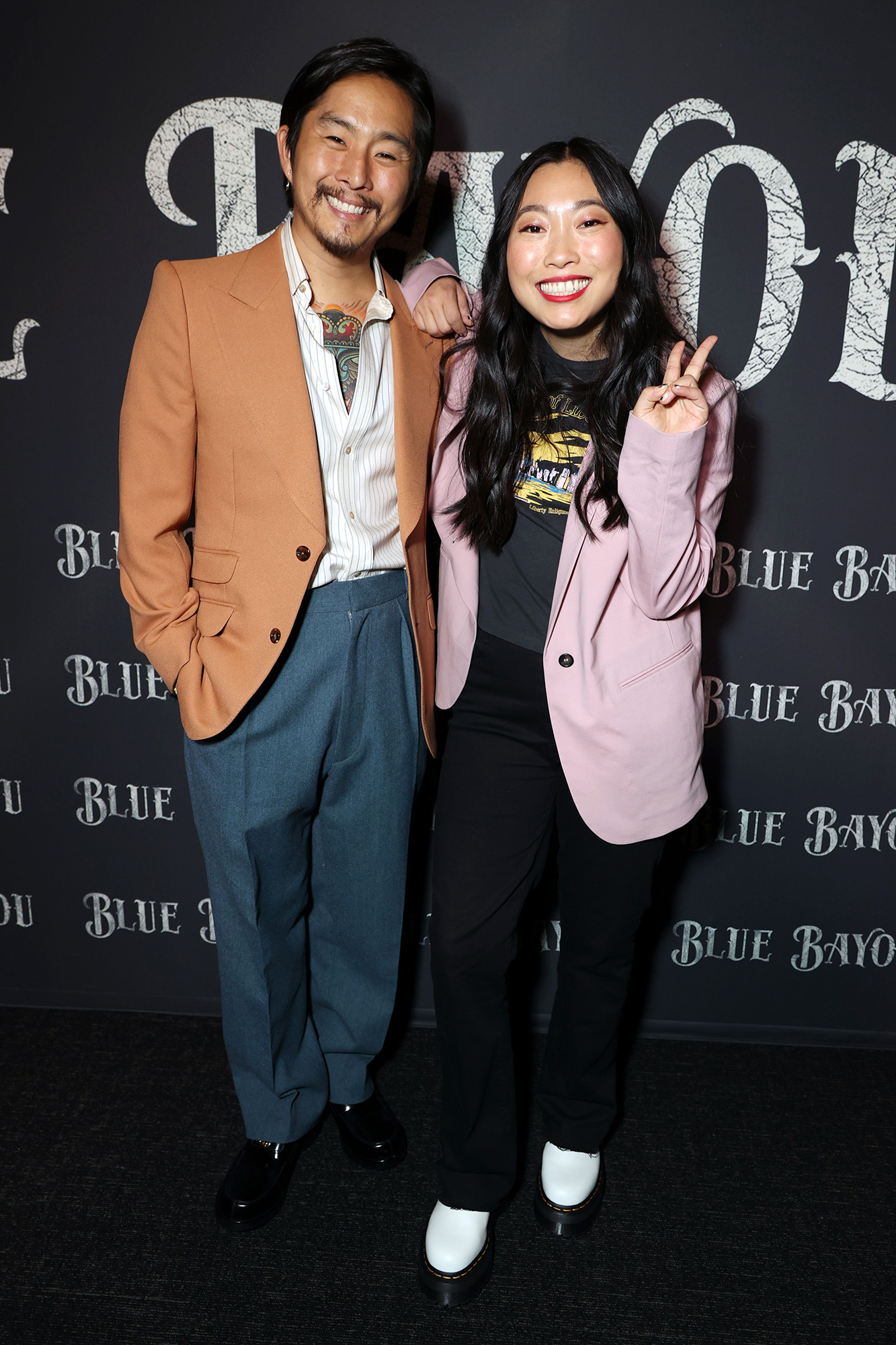Director Justin Chon and Awkwafina Focus Features BLUE BAYOU Los Angeles Premiere, Los Angeles, CA, USA - 14 September 2021