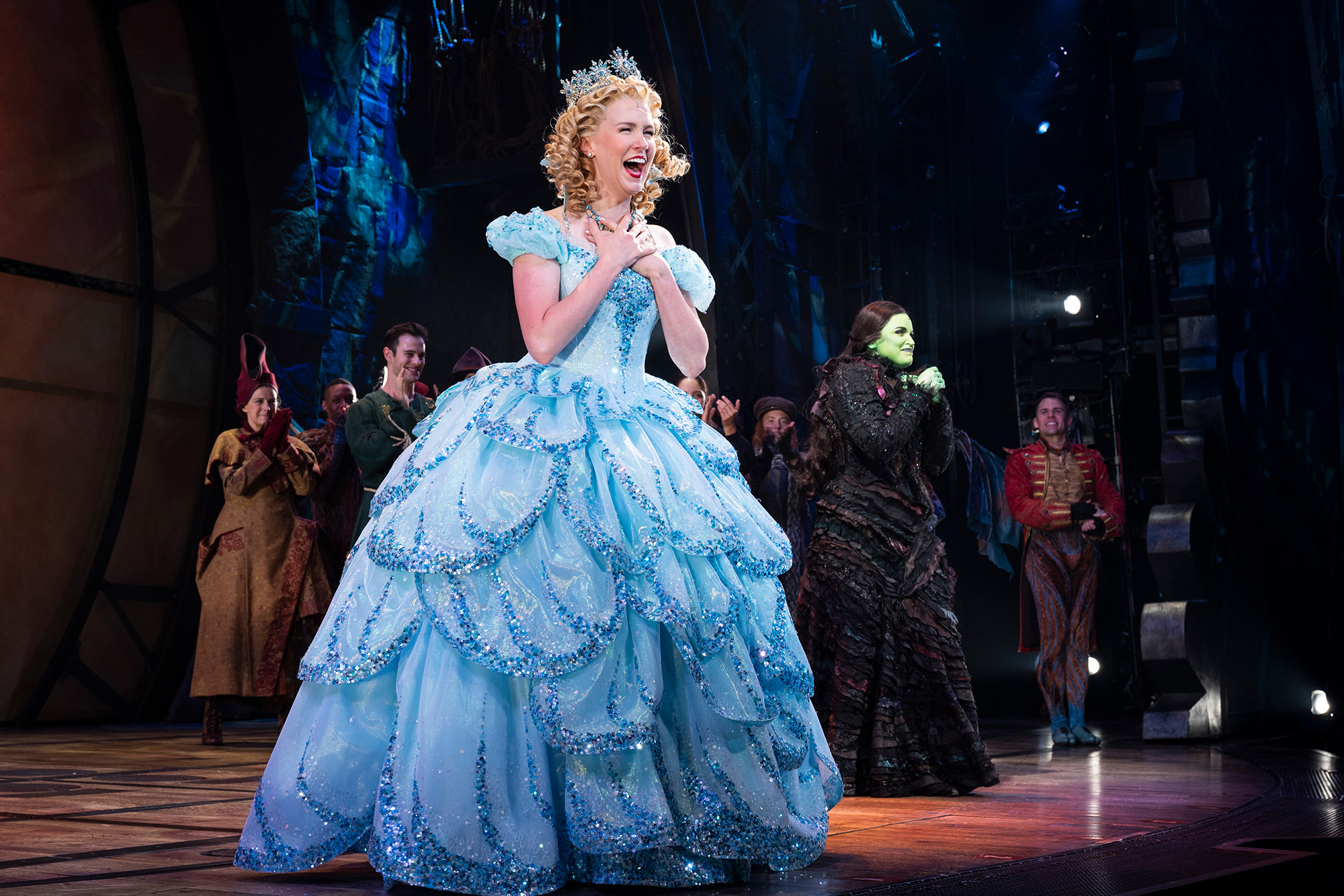 """Ginna Claire Mason and Lindsay Pearce during curtain call of the Broadway reopening of """"Wicked"""" at Gershwin Theatre on September 14, 2021 in New York City."""