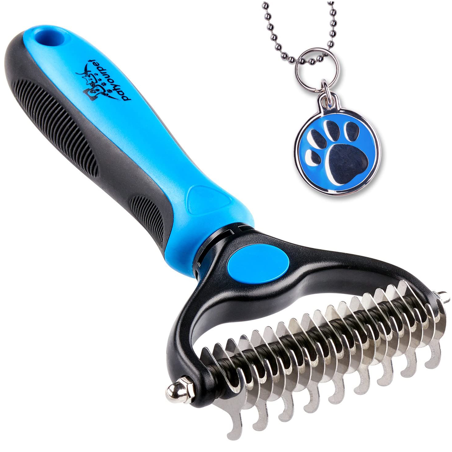 Pet Grooming Tool - 2 Sided Undercoat Rake for Cats & Dogs