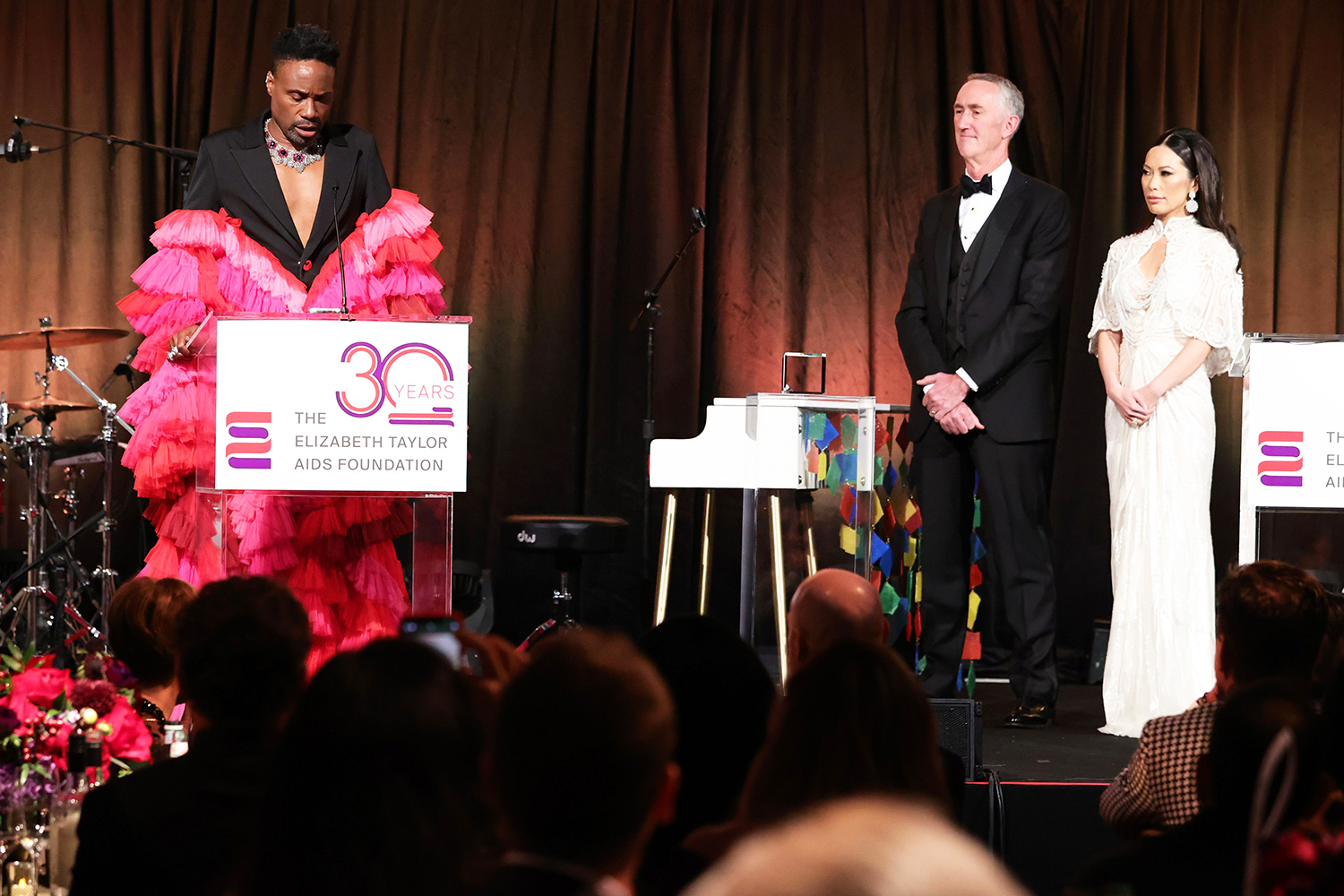 Billy Porter (L) speaks onstage during The Elizabeth Taylor Ball To End AIDS on September 17, 2021 in West Hollywood, California.