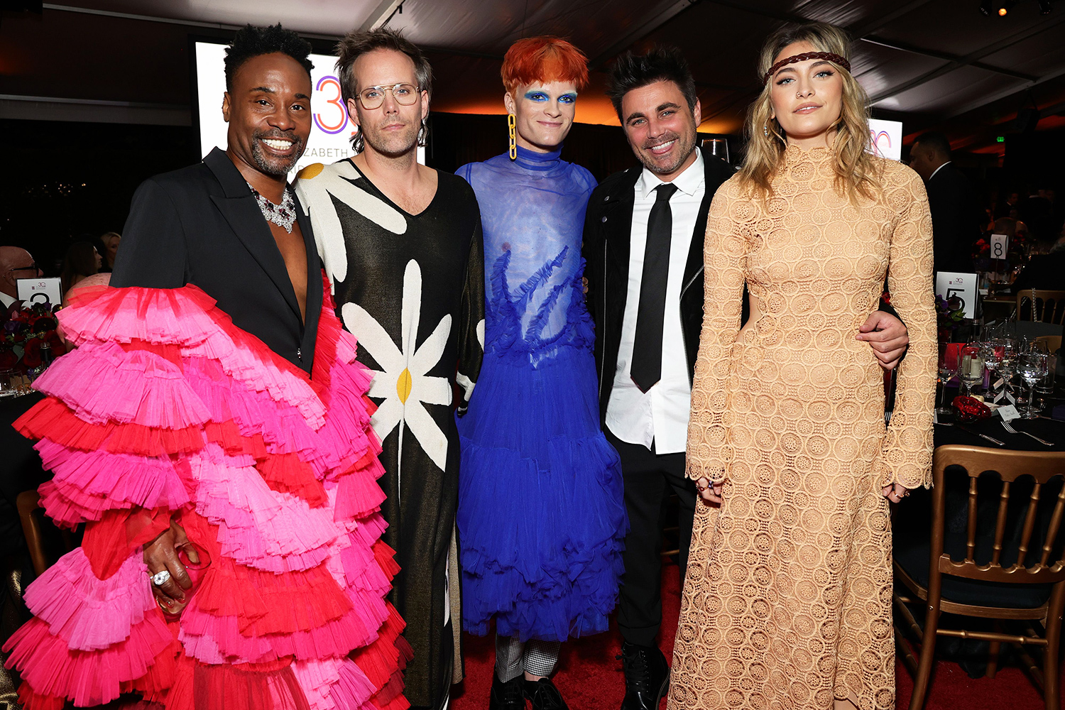 Billy Porter, Jake Wesley Rogers, Paris Jackson with guests, during The Elizabeth Taylor Ball To End AIDS on September 17, 2021 in West Hollywood, California.