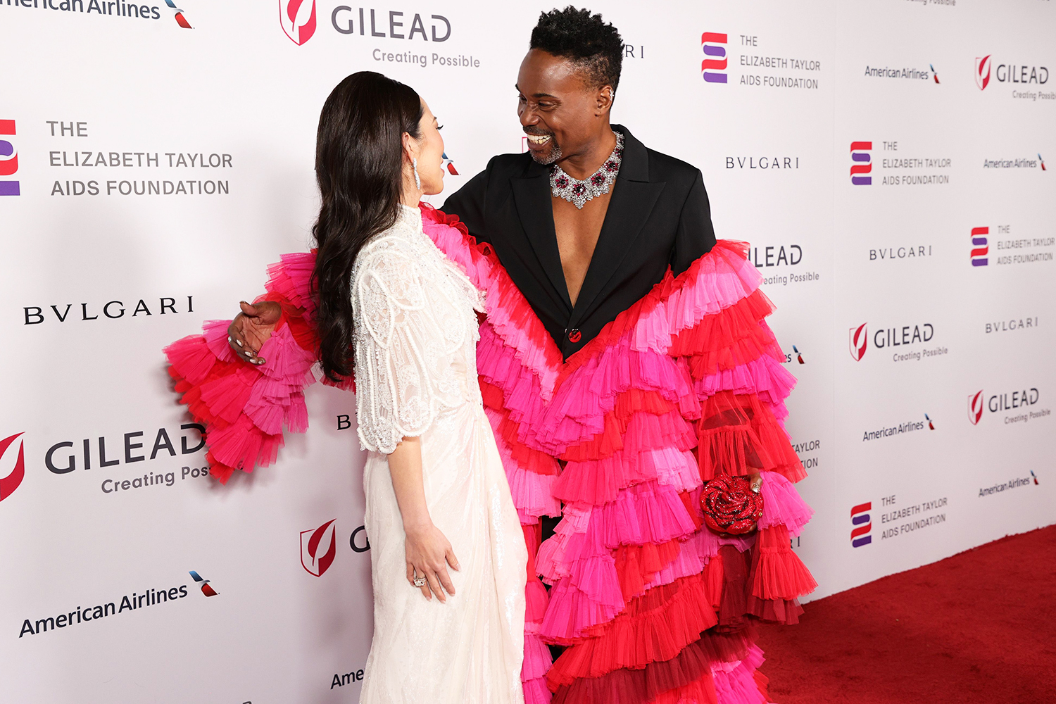Christine Chiu and Billy Porter attend The Elizabeth Taylor Ball To End AIDS on September 17, 2021 in West Hollywood, California.
