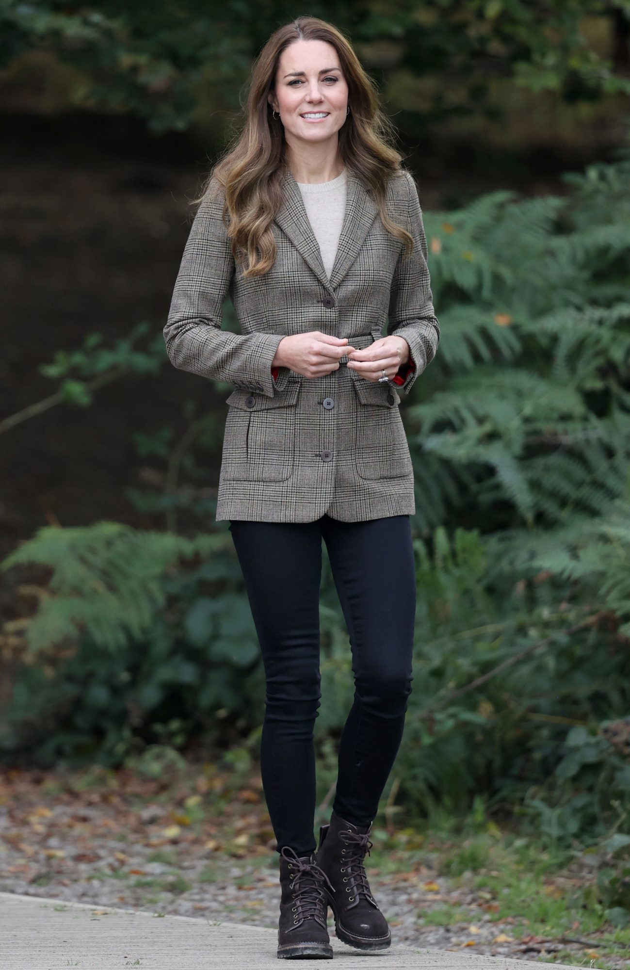 Catherine, Duchess of Cambridge arrives to embark on a boat trip on Lake Windermere
