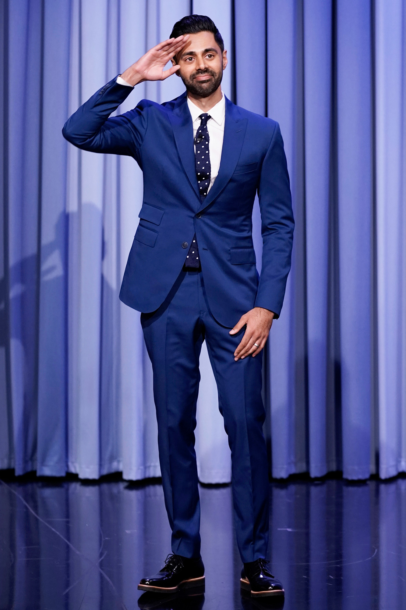 THE TONIGHT SHOW STARRING JIMMY FALLON -- Episode 1518 -- Pictured: Comedian Hasan Minhaj arrives on Monday, September 20, 2021