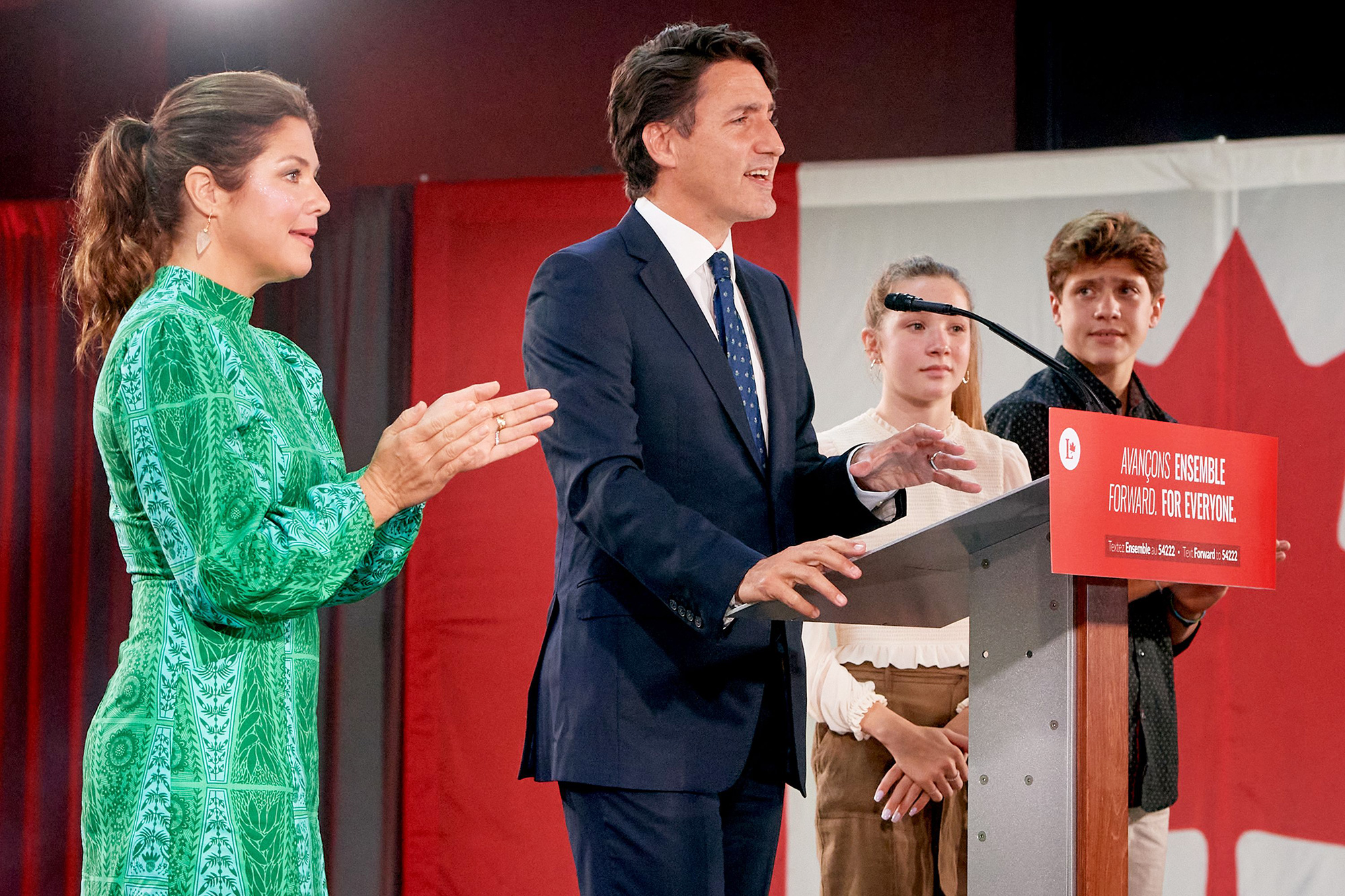 Canadian Prime Minister and Liberal Party leader Justin Trudeau (2-R), standing next to his wife Sophie Gregoire (L), daughter Ella Grace (2-R) and son Xavier (R), addresses supporters as he celebrates his election victory in Montreal, Quebec, Canada, 20 September 2021. Liberal Party leader Justin Trudeau retained his position as Canadian prime minister in the federal election but will be forced to form a minority government. 2021 Canadian federal election, Montreal, Canada - 21 Sep 2021