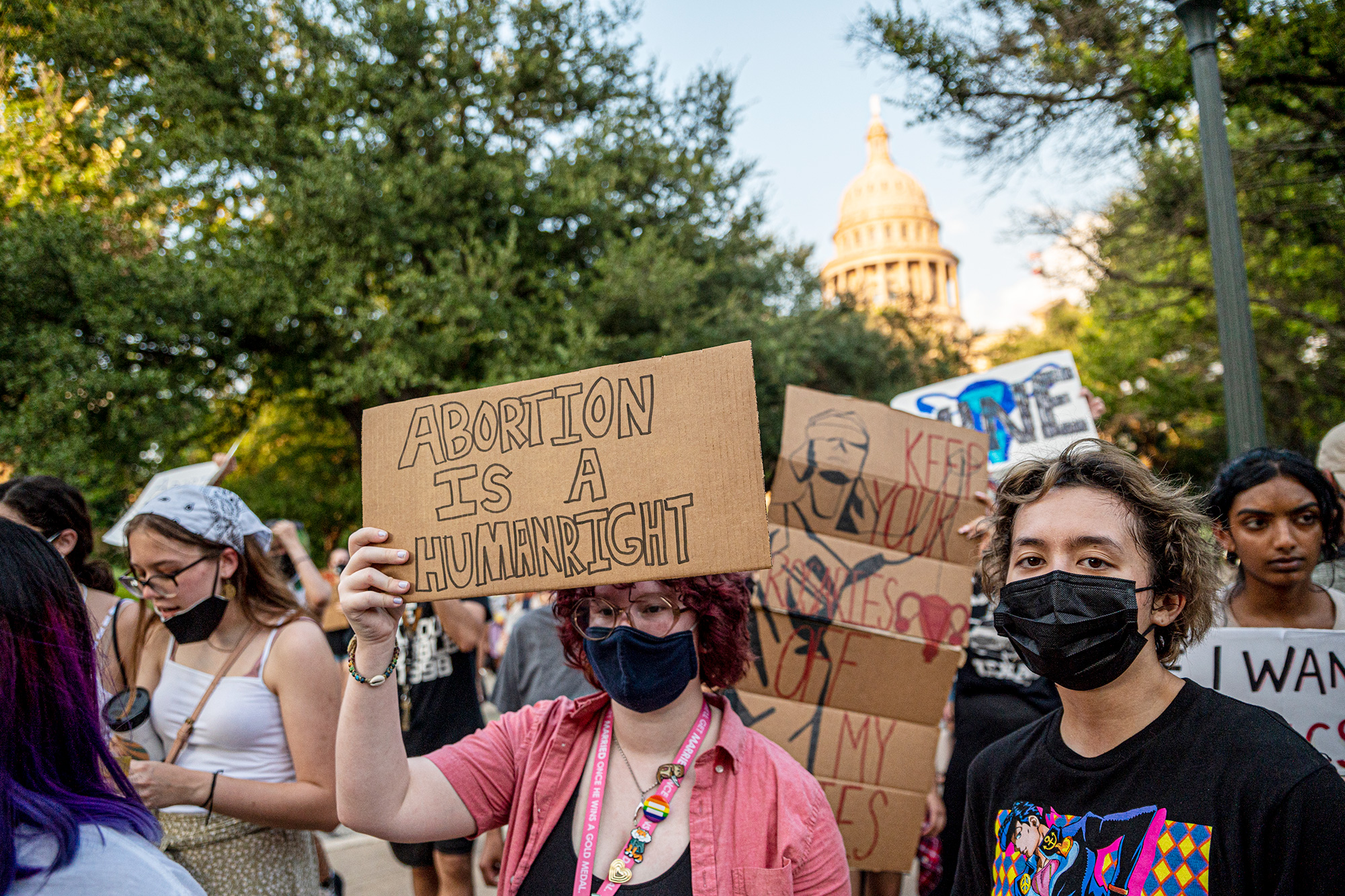 Pro-choice protesters march outside the Texas State Capitol on Wednesday, Sept. 1, 2021 in Austin, TX.