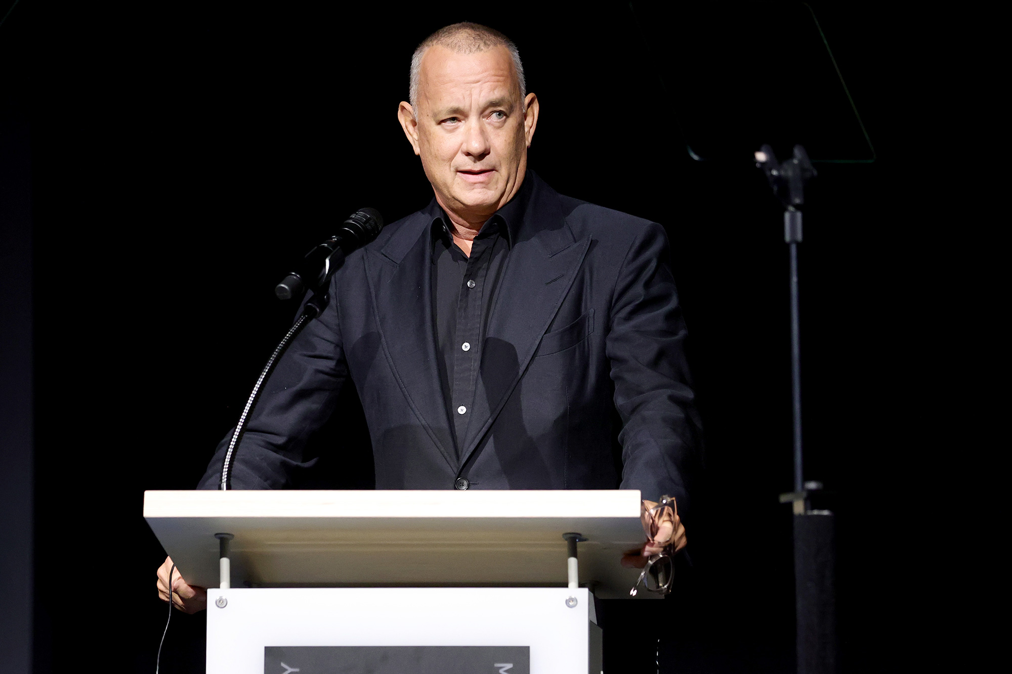 Academy Museum of Motion Pictures trustee Tom Hanks speaks onstage during the Academy Museum Opening Press Conference at Academy Museum of Motion Pictures on September 21, 2021 in Los Angeles, California