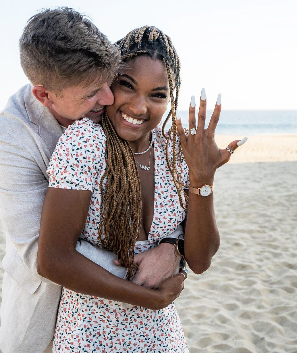 Track and Field Stars Hunter Woodhall and Tara Davis Get Engaged During Romantic Mexican Getaway