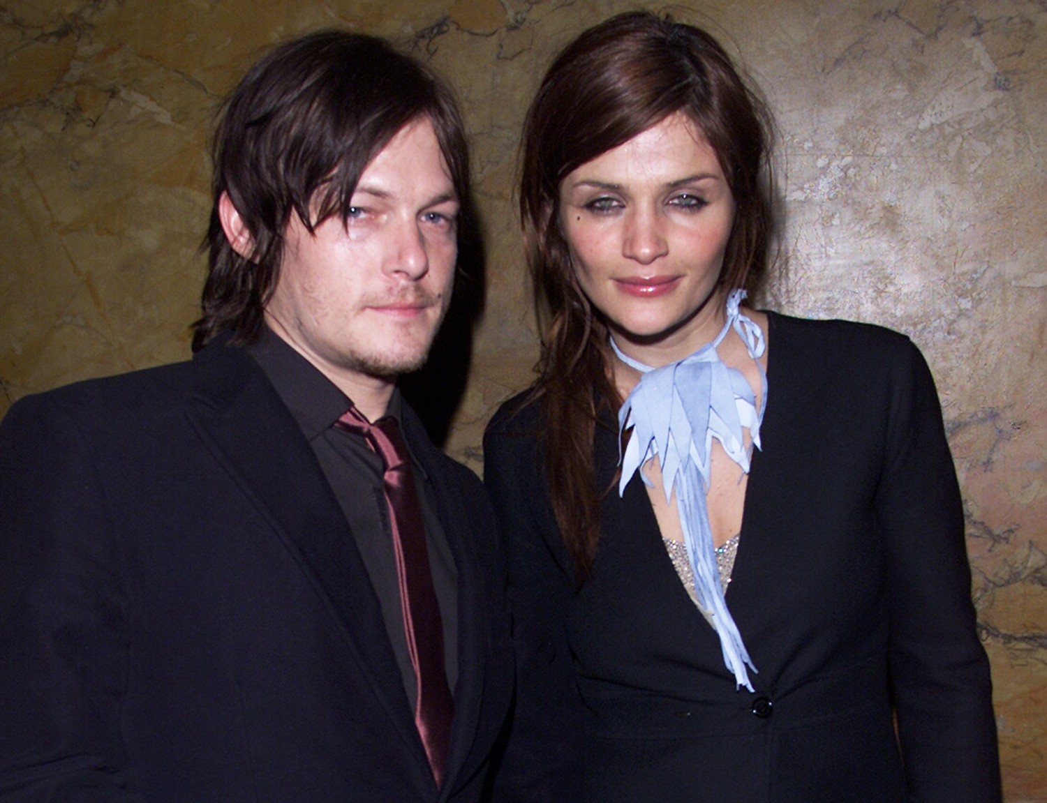 Helena Christensen and boyfriend, Norman Reedus arrive at the 2001 Brit Awards held at Earls Court Exhibition Centre on February 26, 2001 in London.