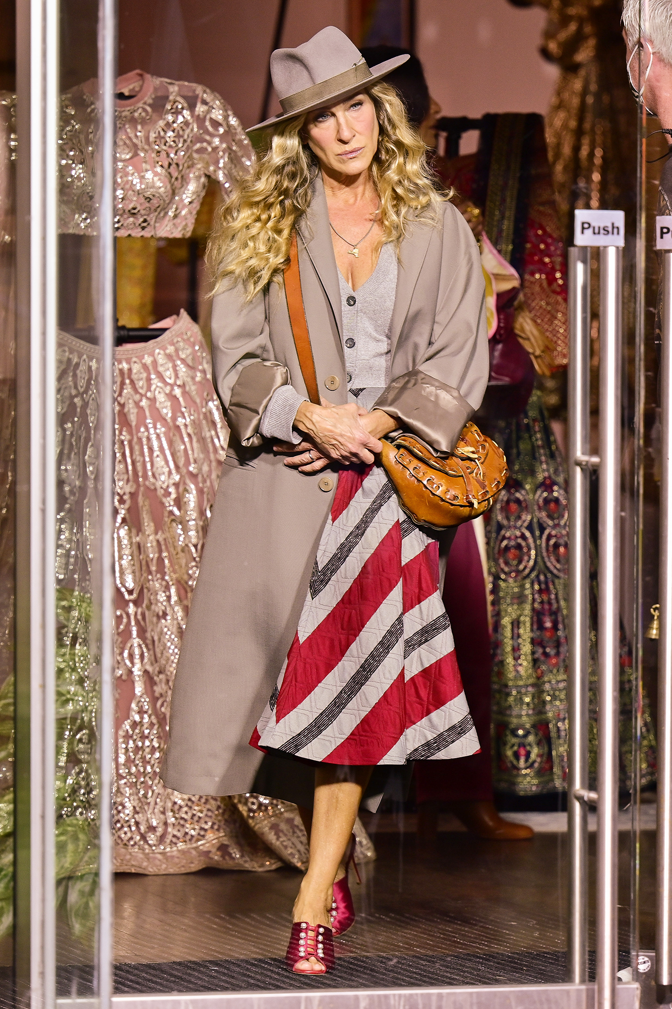 """Sarah Jessica Parker seen on the set of """"And Just Like That..."""" the follow up series to """"Sex and the City"""" in SoHo on September 27, 2021 in New York City."""