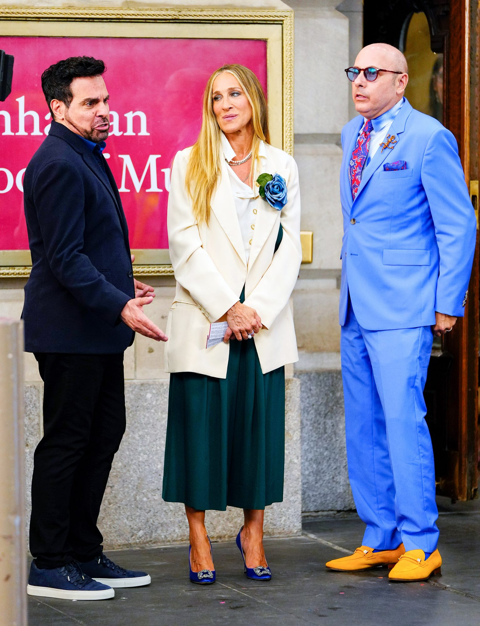 """Mario Cantone, Sarah Jessica Parker and Willie Garson are seen filming """"And Just Like That..."""" the follow up series to """"Sex and the City"""" on July 23, 2021 in New York City."""