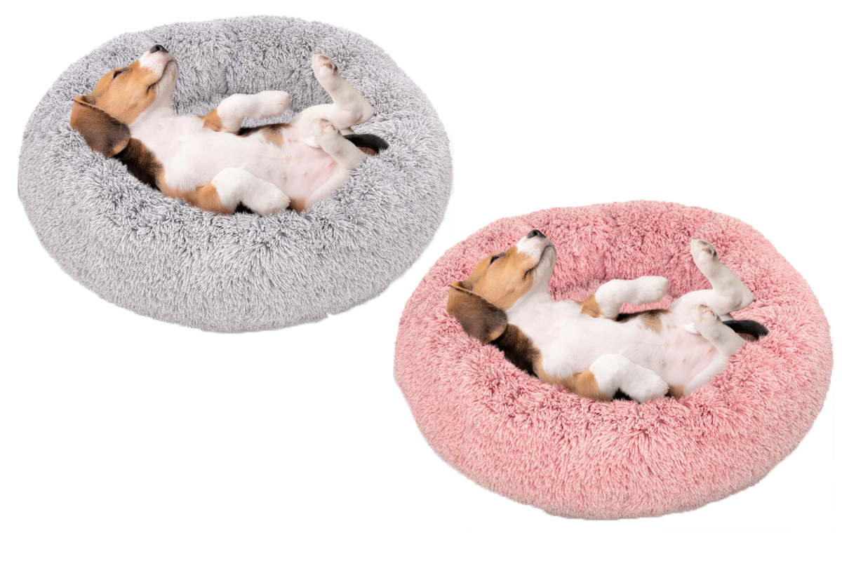 Active Pets Plush Calming Dog Bed, Donut Dog Bed for Small Dogs, Medium