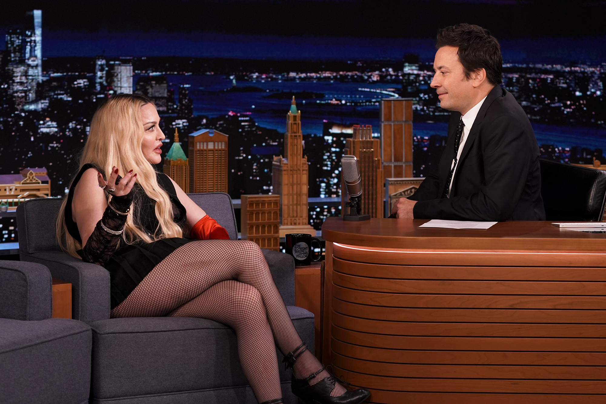 THE TONIGHT SHOW STARRING JIMMY FALLON -- Episode 1531 -- Pictured: (l-r) Singer Madonna during an interview with host Jimmy Fallon on Thursday, October 7, 2021