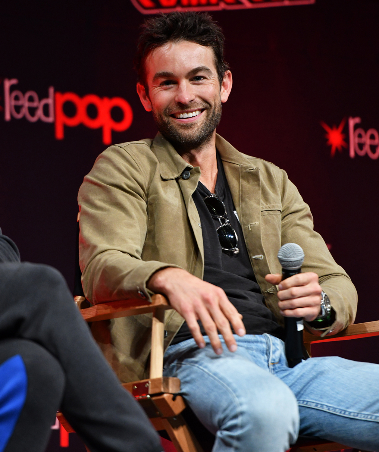 Chace Crawford speaks onstage at The Boys panel during Day 2 of New York Comic Con 2021 at Jacob Javits Center on October 08, 2021 in New York City.