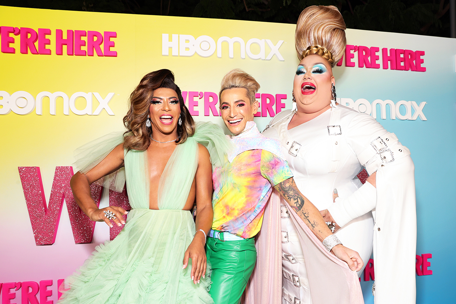 """Shangela, Frankie Grande, and Eureka O'Hara attend the """"We're Here"""" Season 2 Premiere at Sony Pictures Studios on October 08, 2021 in Culver City, California."""