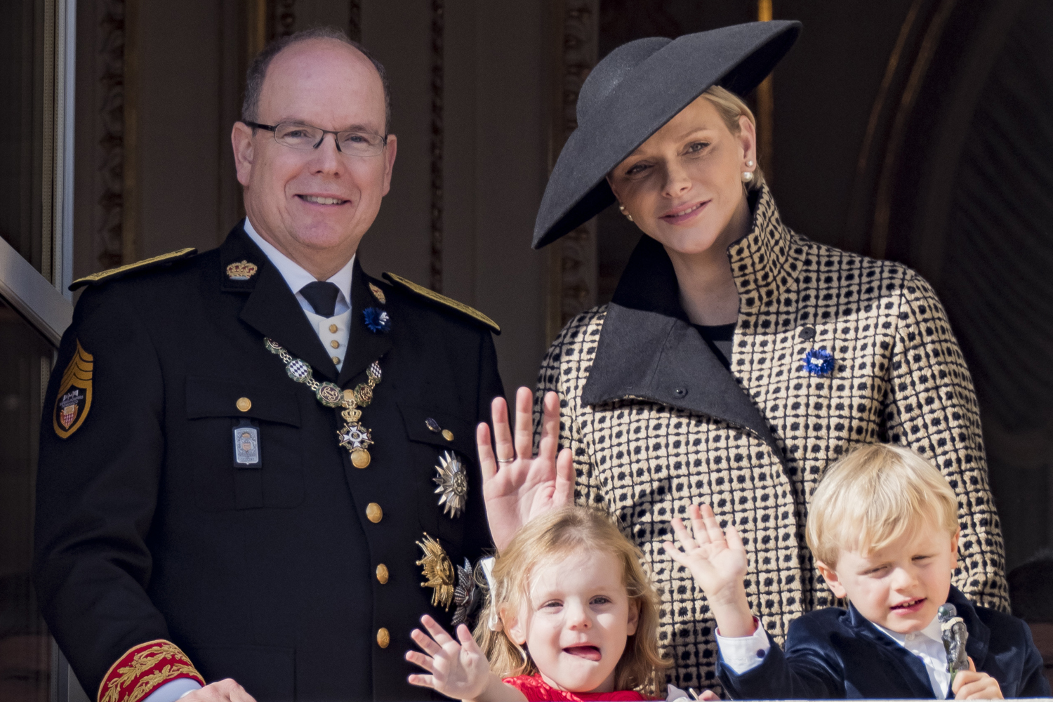 Prince Albert II of Monaco and Princess Charlene of Monaco with their children Prince Jacques of Monaco and Princess Gabriella of Monaco