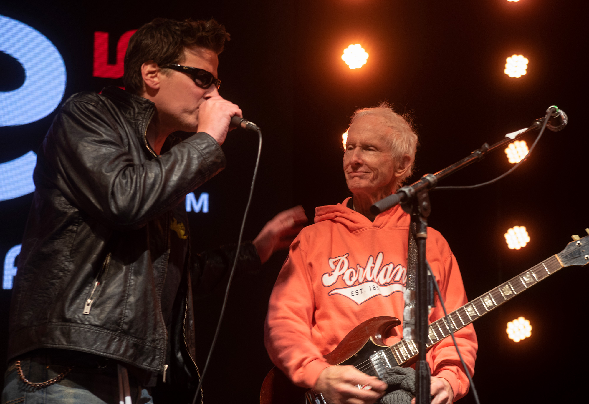 Robby Krieger performing with his son, Waylon Krieger, 2018