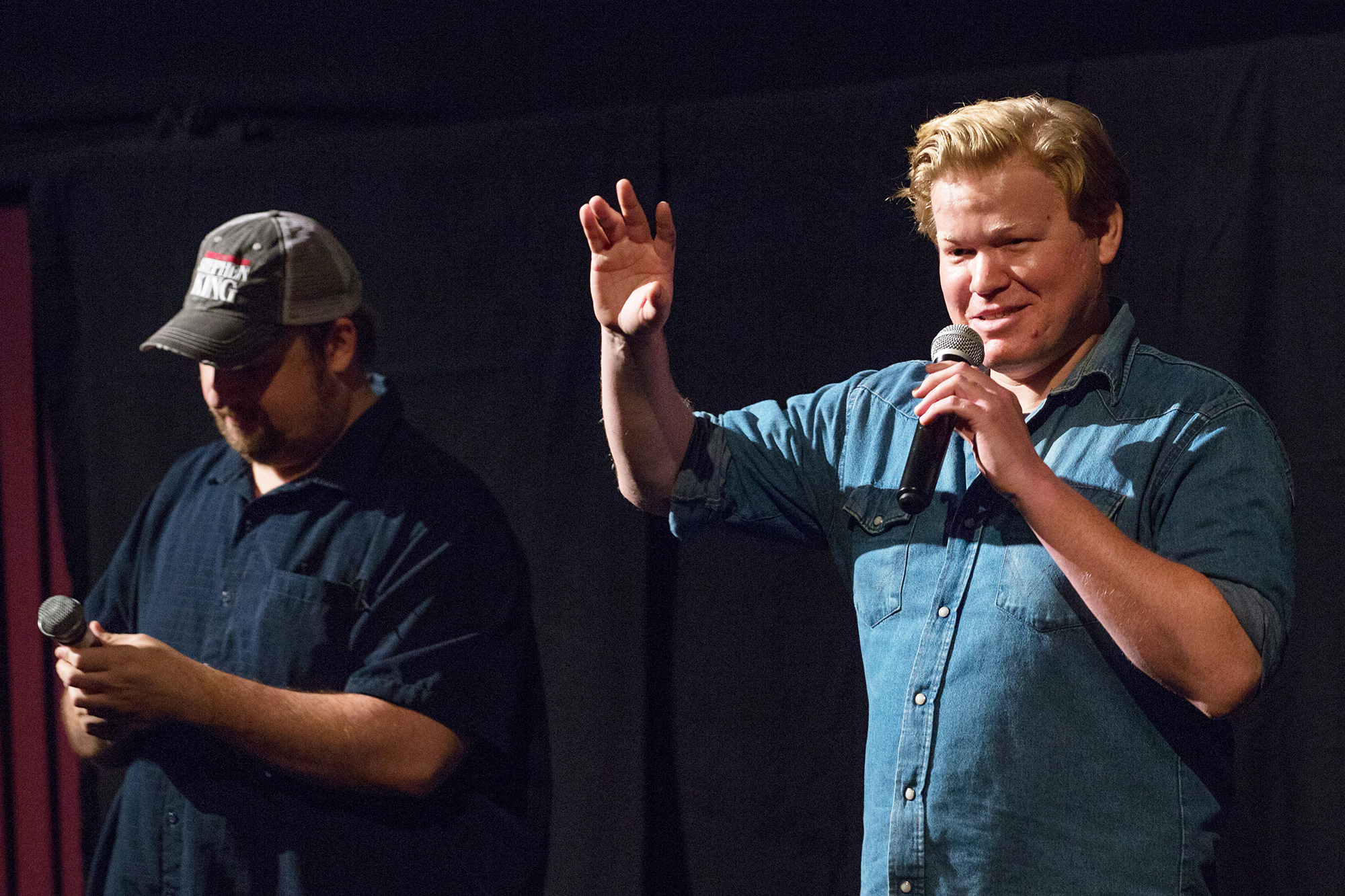 Jesse Plemons (R) and Eric Vespe attend Fantastic Fest Presents Special Screening of ANTLERS at Alamo Drafthouse South Lamar on October 11, 2021 in Austin, Texas